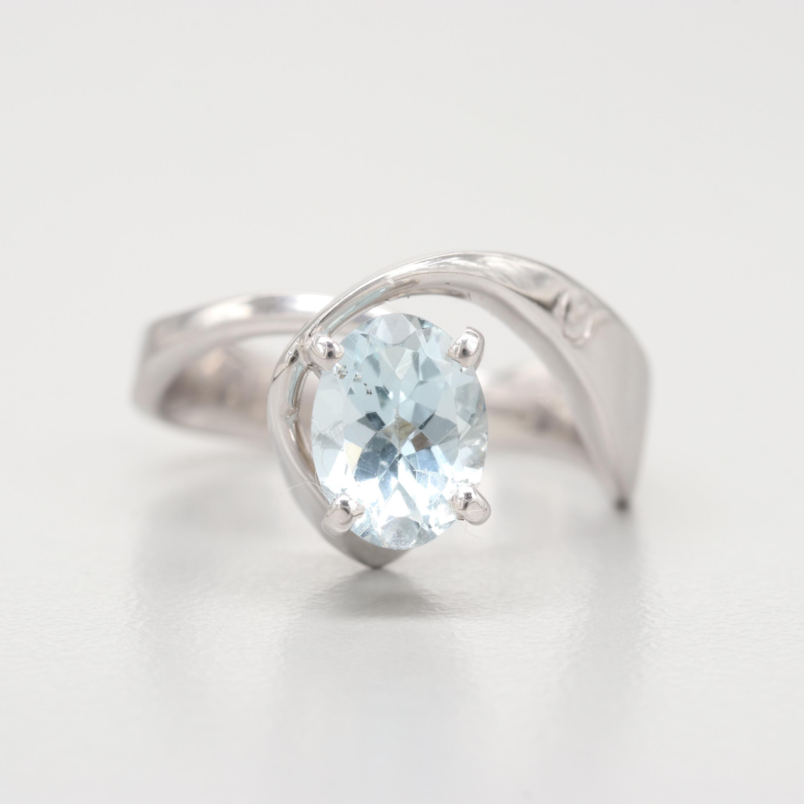 14K White Gold Aquamarine Ring with Euro Style Shank