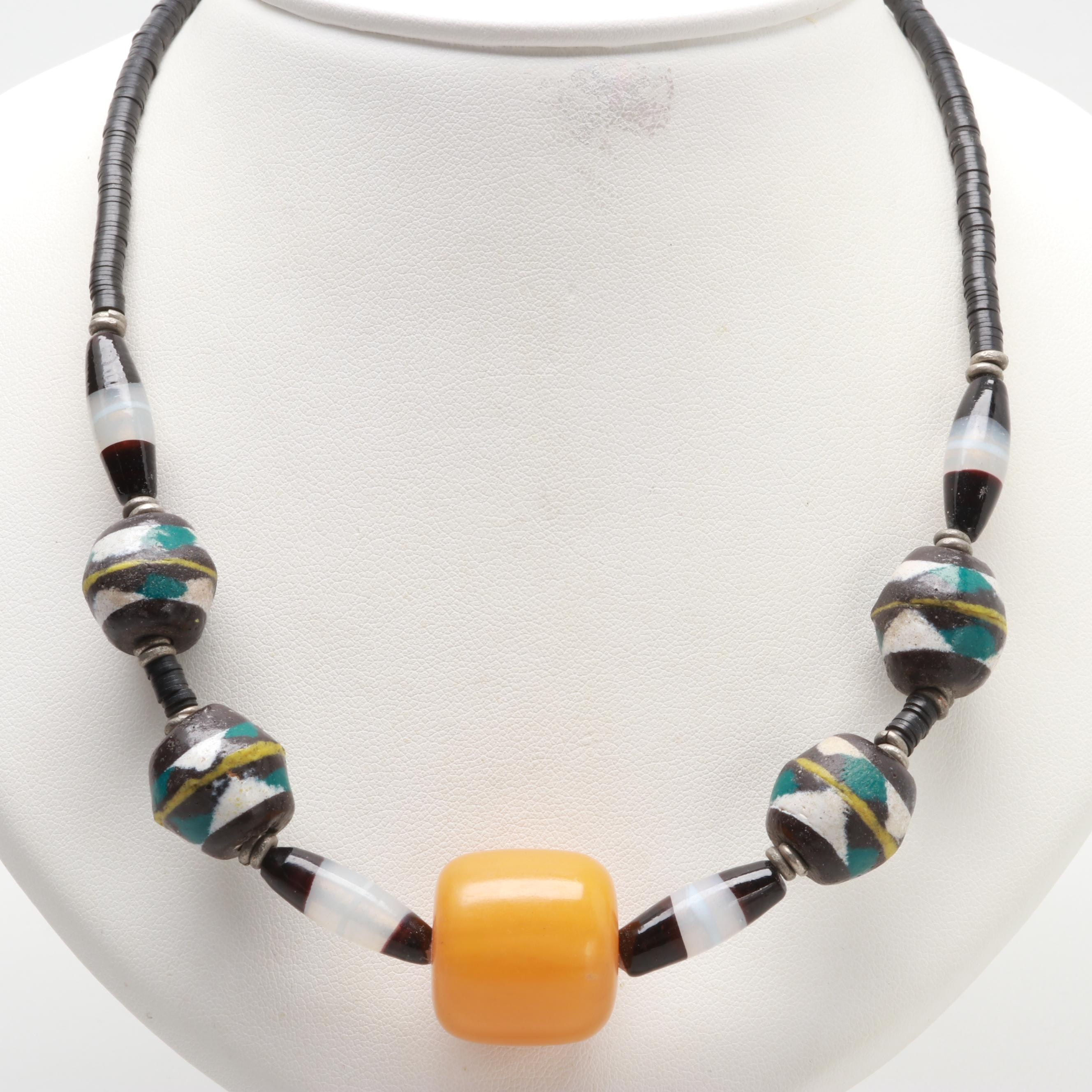 Gold Tone Glass and Resin Beaded Necklace