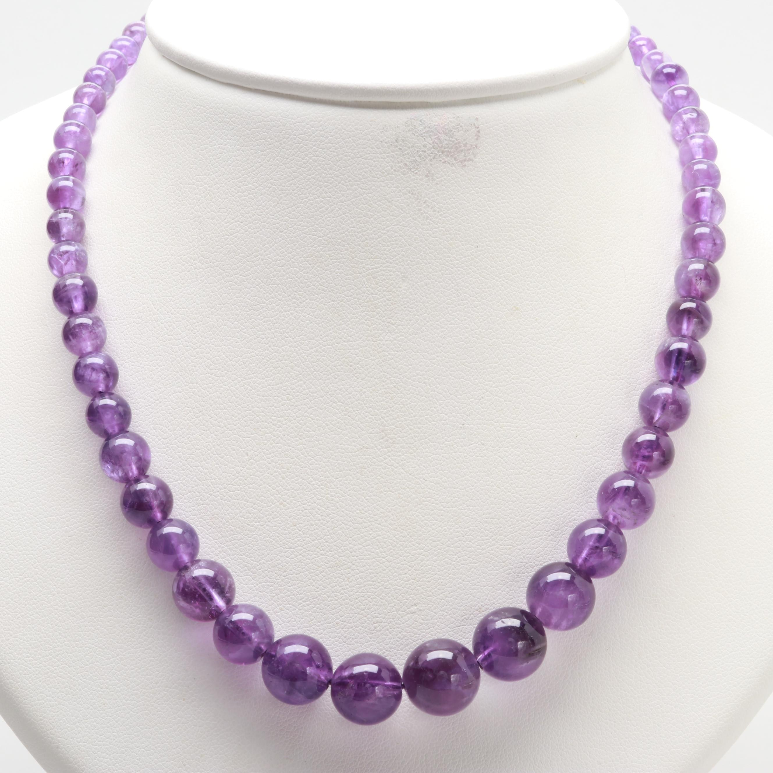 Silver Tone Graduated Amethyst Beaded Necklace