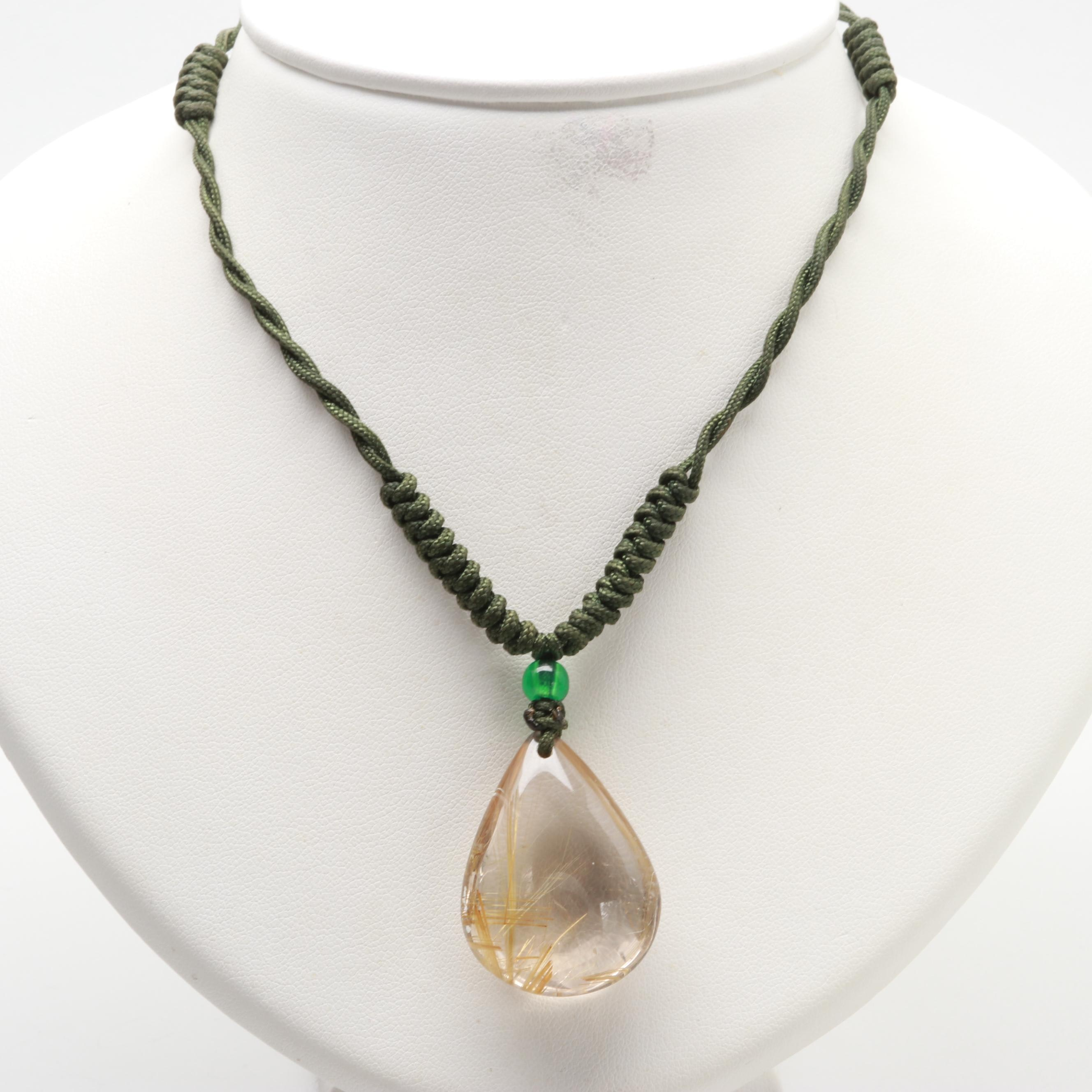 Rutilated Quartz and Glass Bead Pendant on Cord Necklace