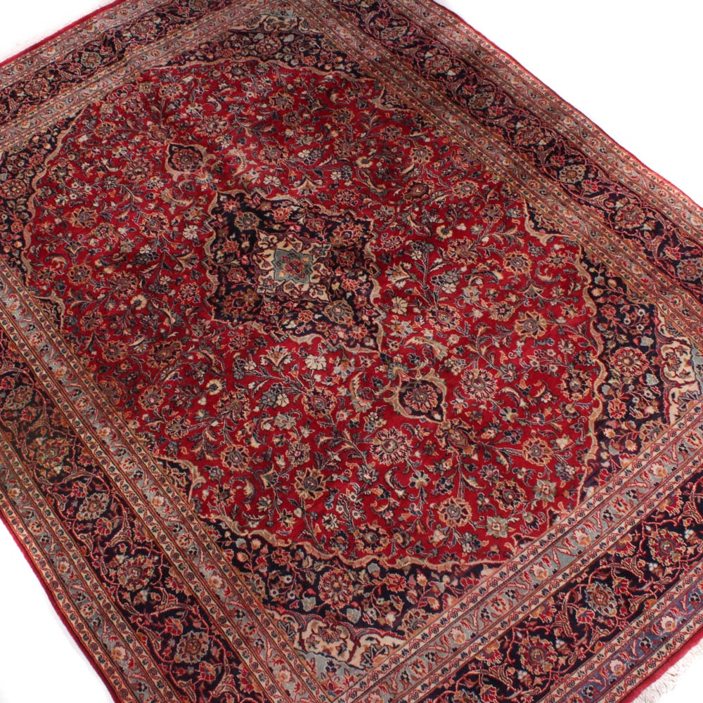 Semi-Antique Hand-Knotted Persian Mashhad Room Size Rug