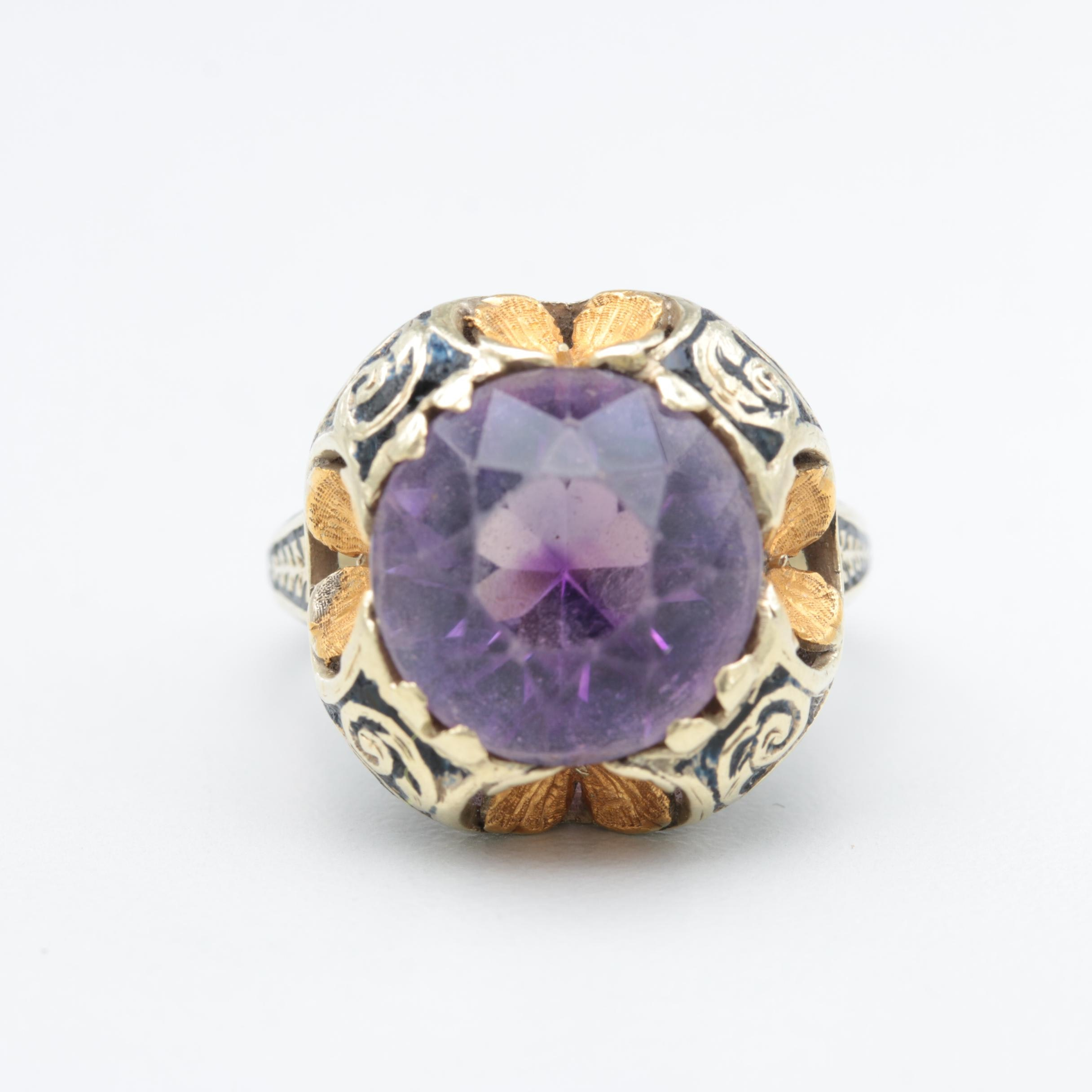 14K White and Yellow Gold Amethyst Ring