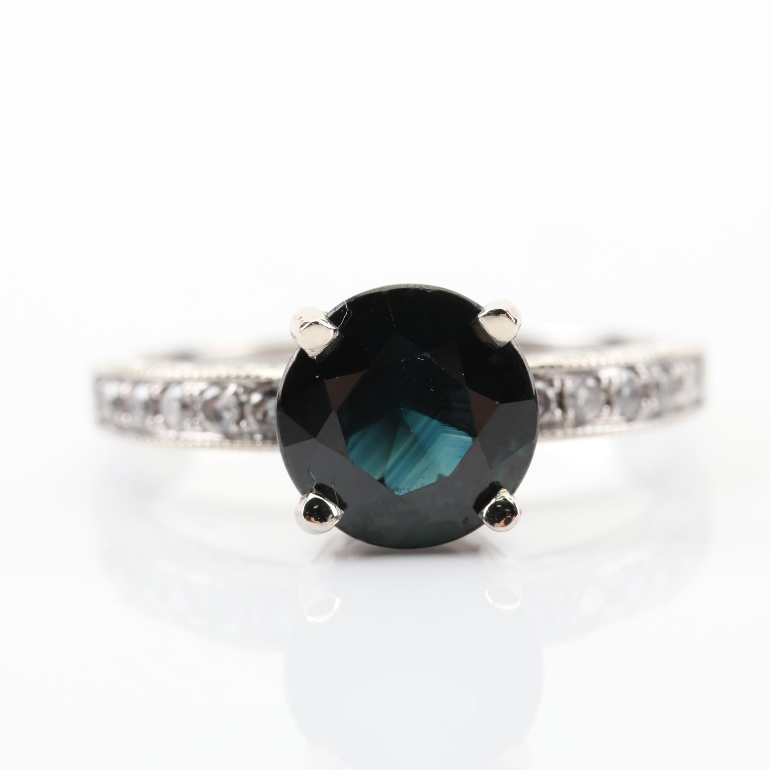 14K White Gold 2.03 CT Sapphire and Diamond Ring