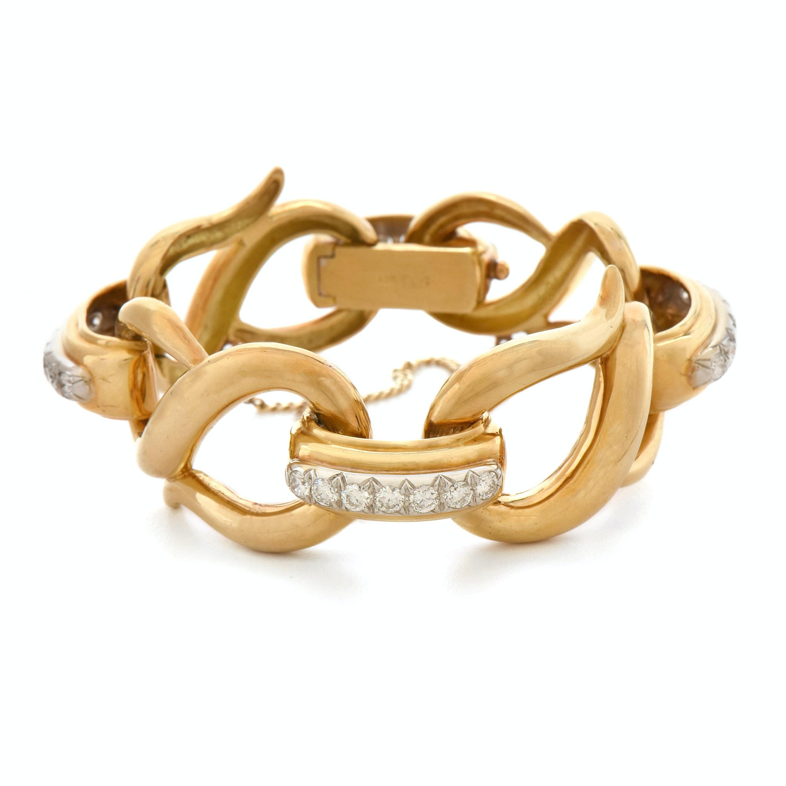 "Hammerman Brothers 18K Yellow Gold 3.98 CTW Diamond ""S"" Link Bracelet"