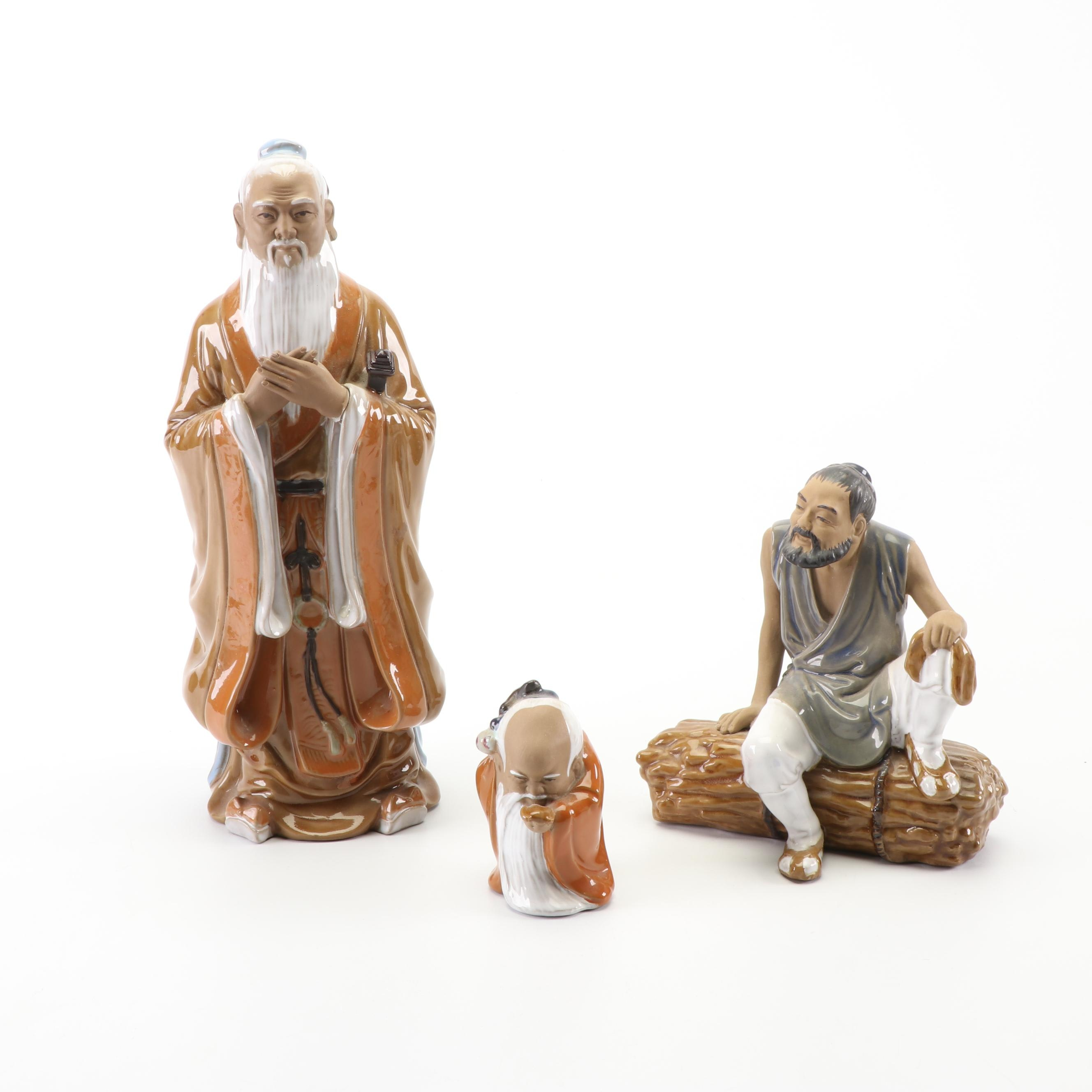 Chinese Shiwan Figurines including Wanjiang Marked