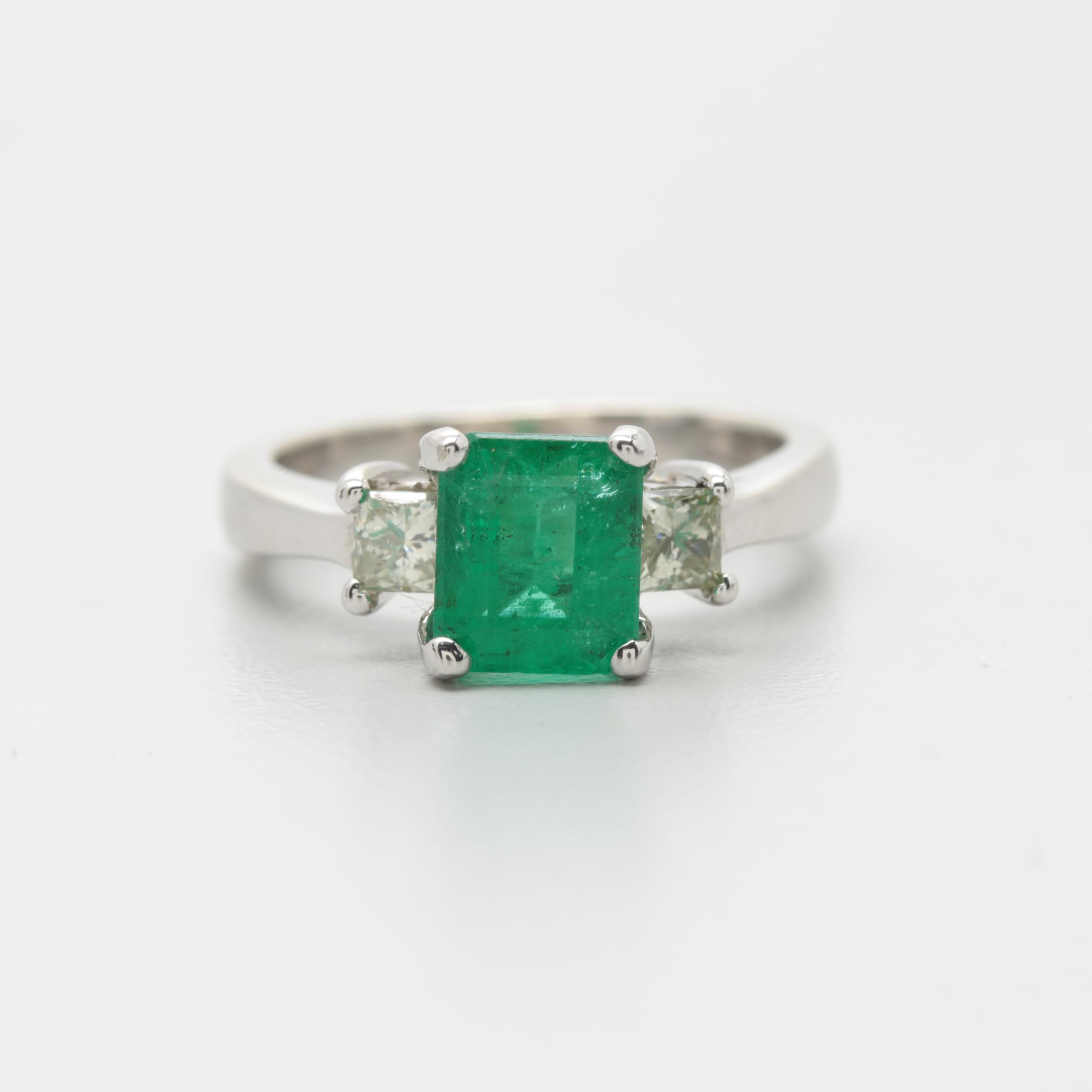 14K White Gold 1.63 CT Emerald and Diamond Ring