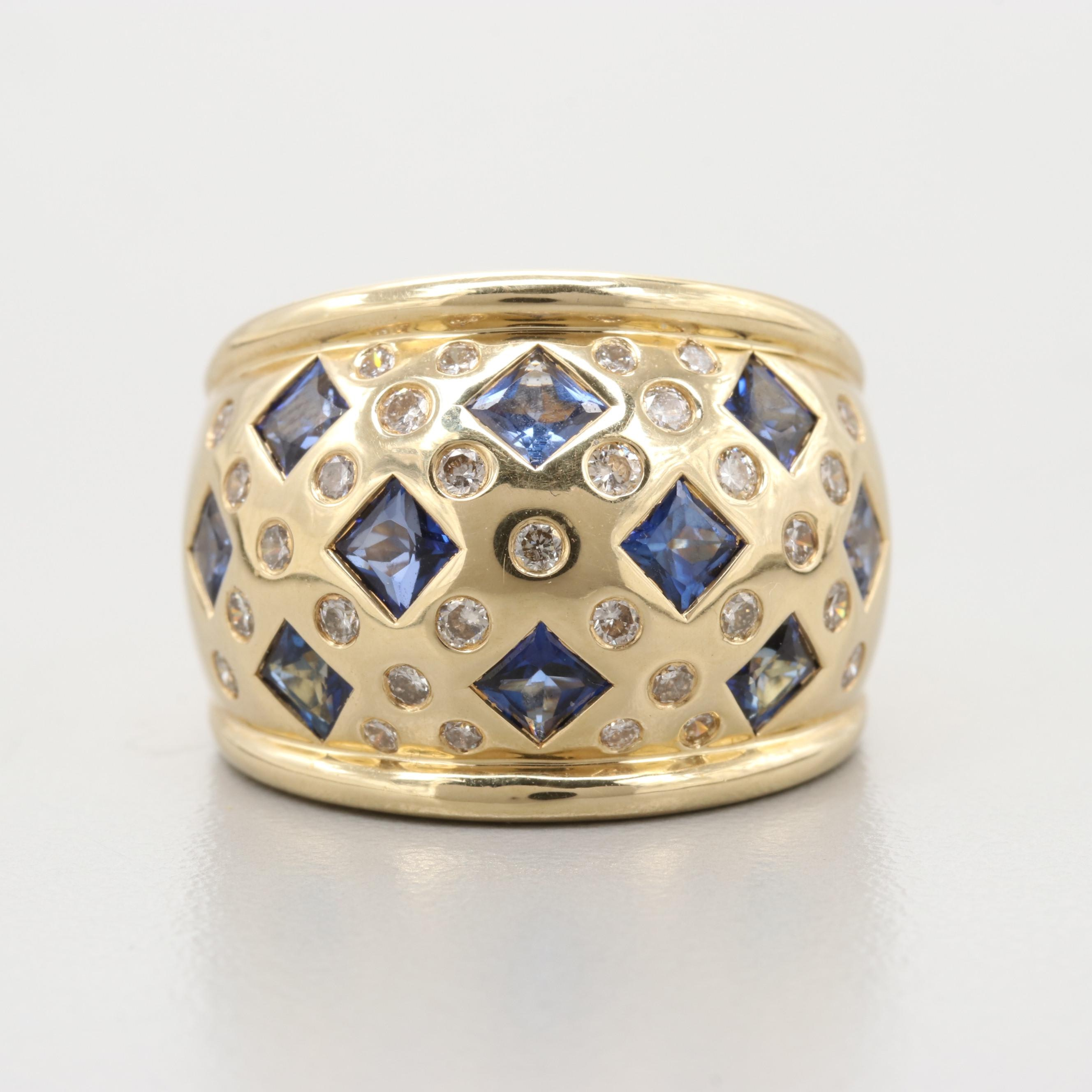 Daniel Martin 14K Yellow Gold Blue Sapphire and Diamond Ring