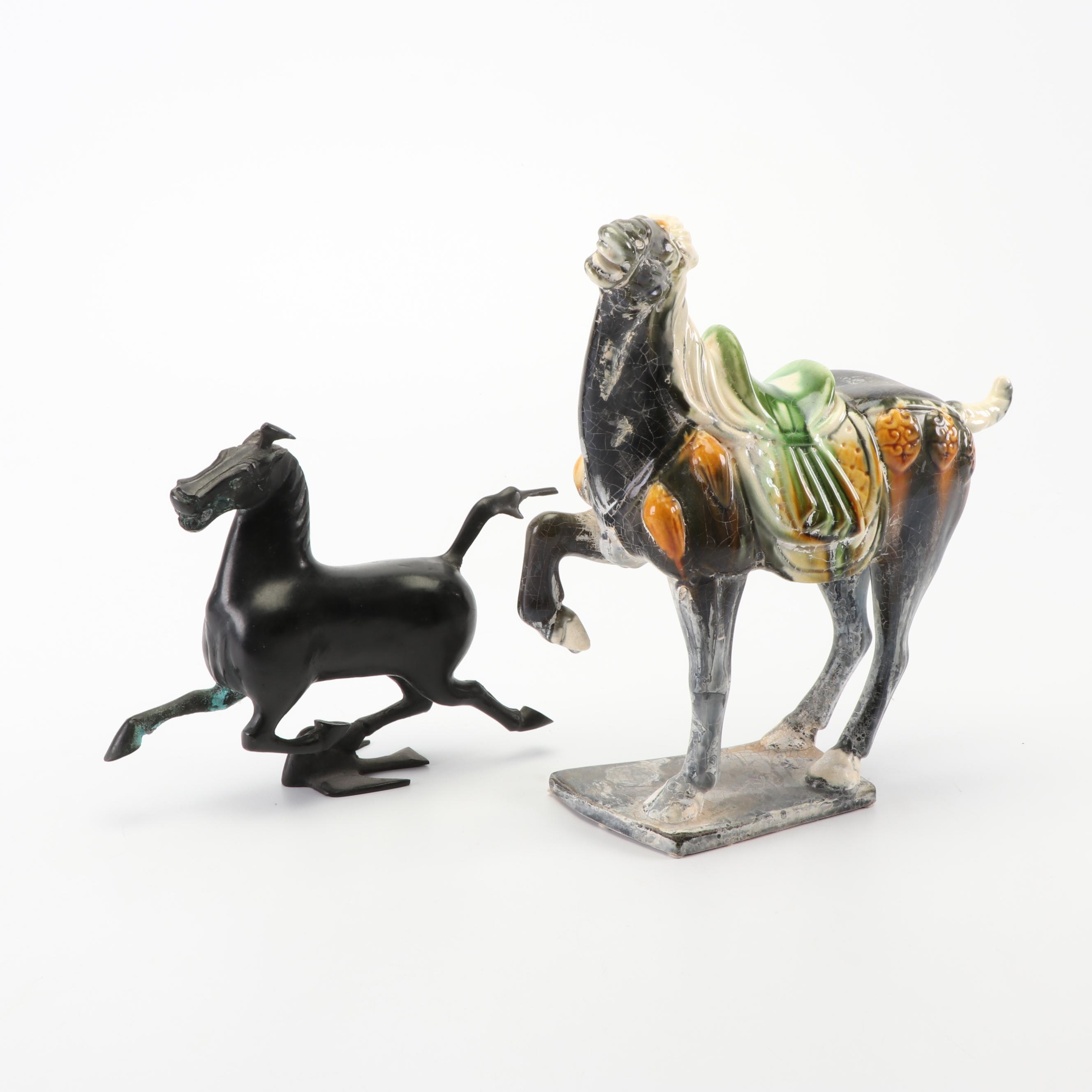 Asian Inspired Metal and Ceramic Horse Sculptures