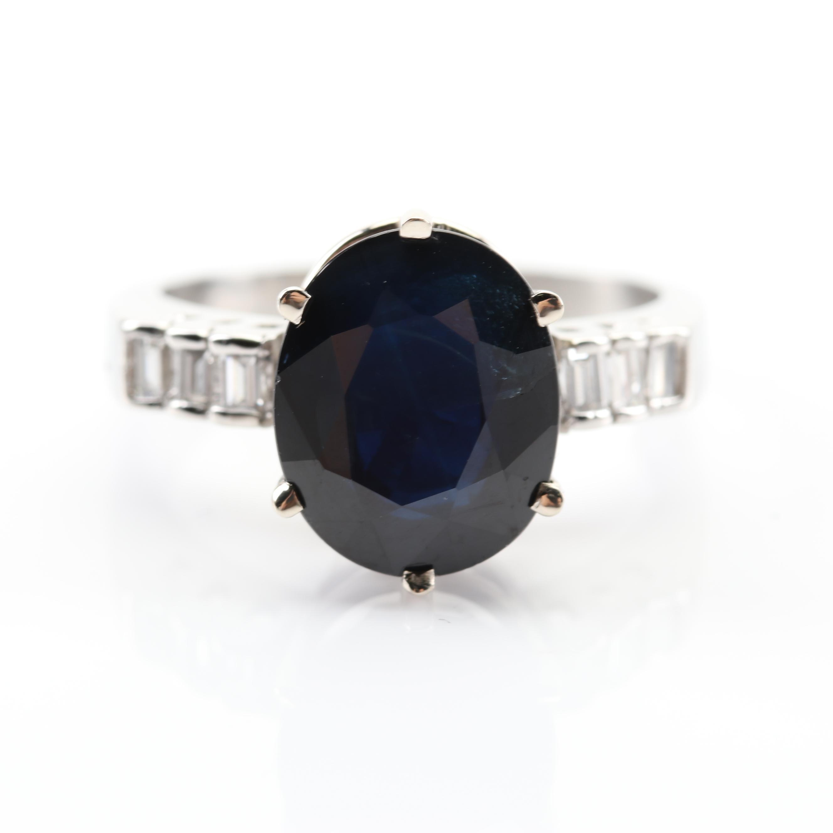 Platinum 7.30 CT Sapphire and Diamond Ring