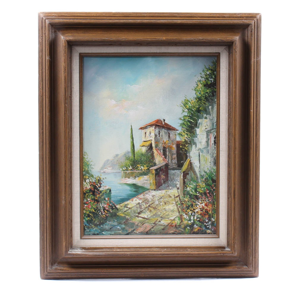 Rossini Oil Painting of Seaside Villa