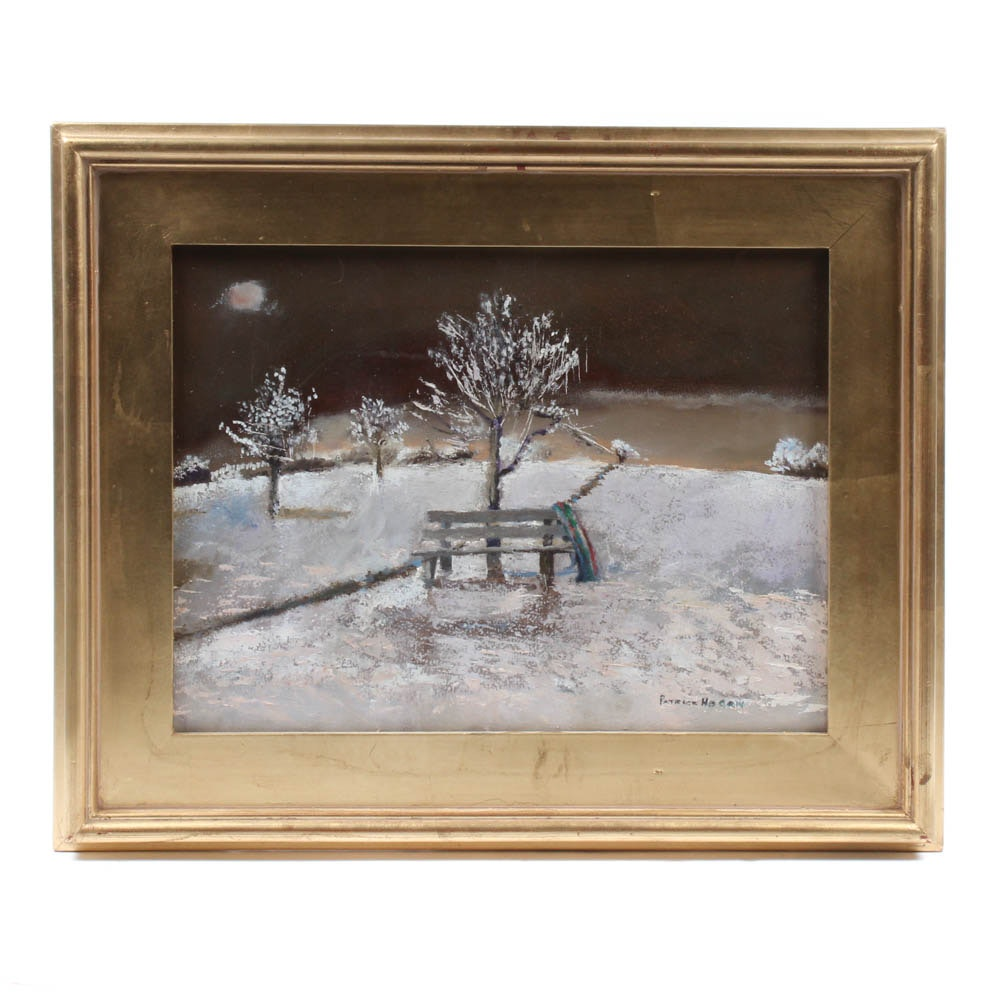 Patrick Hogan Oil Painting of Park in Winter