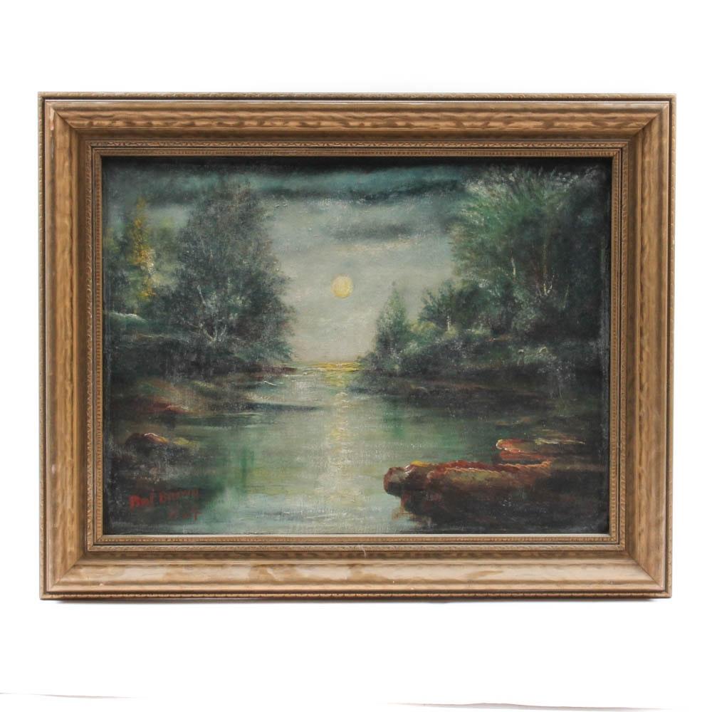 Burt Brown Nocturnal Landscape Oil Painting