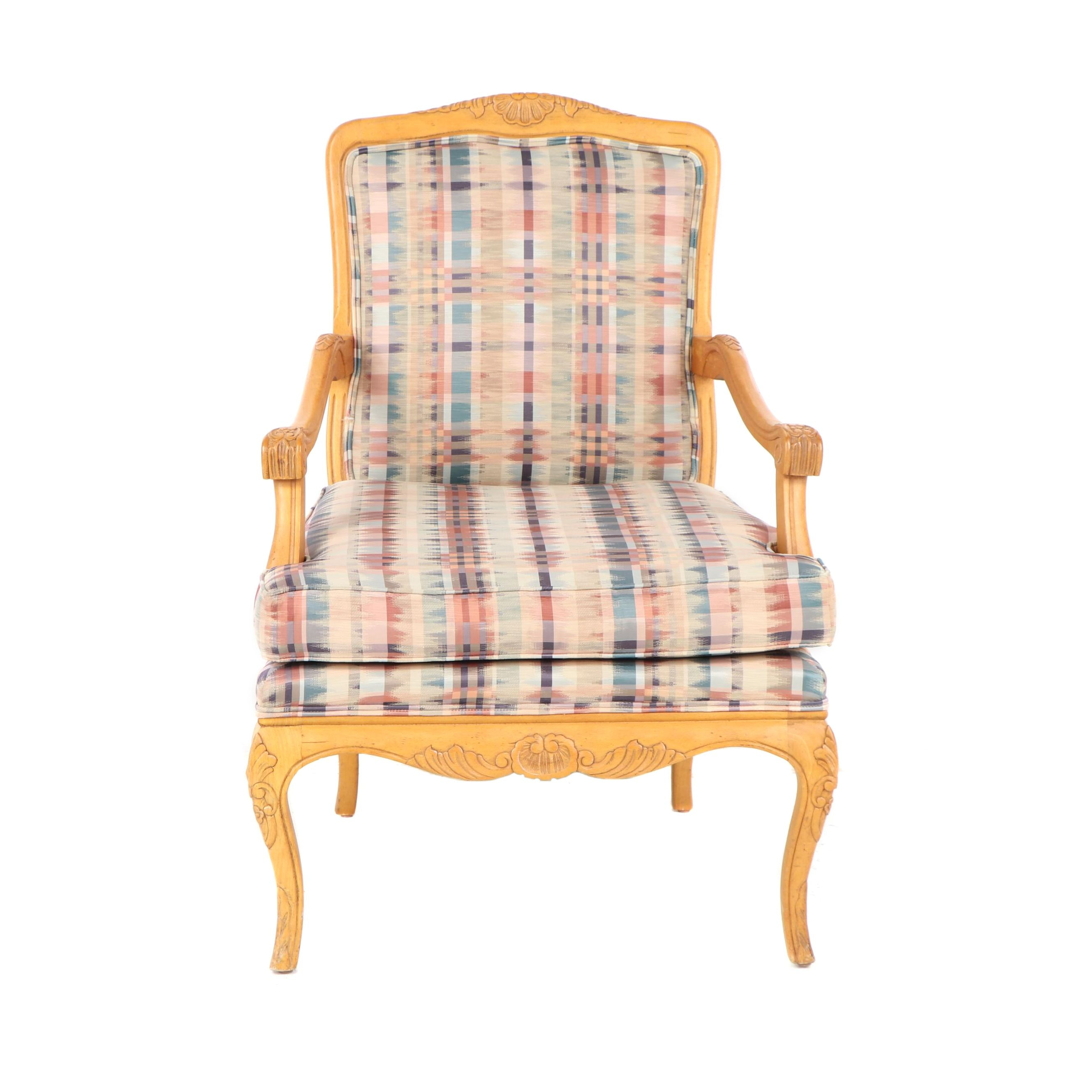 French Style Carved Birch Frame Upholstered Armchair by Century, 21st Century
