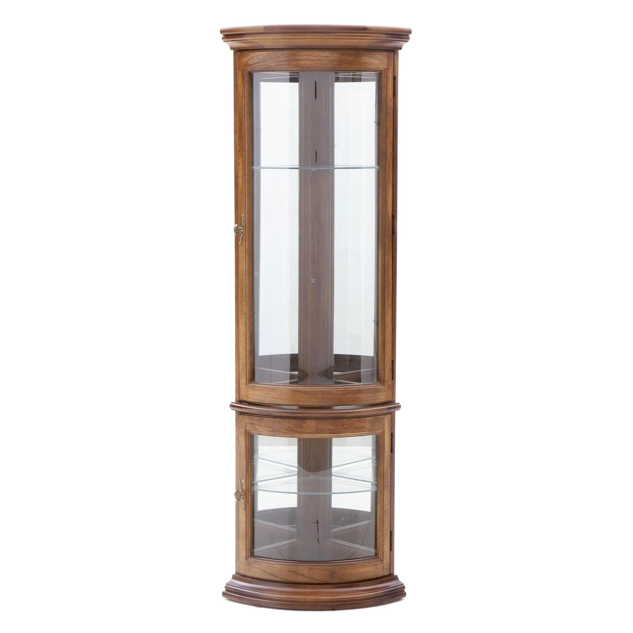 Corner Illuminated Curio Cabinet in Oak