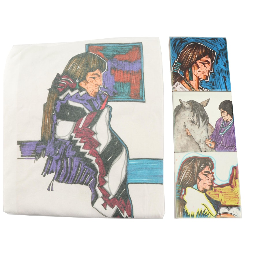 Amado Peña Printed Ceramic Tiles Triptych with T-Shirt