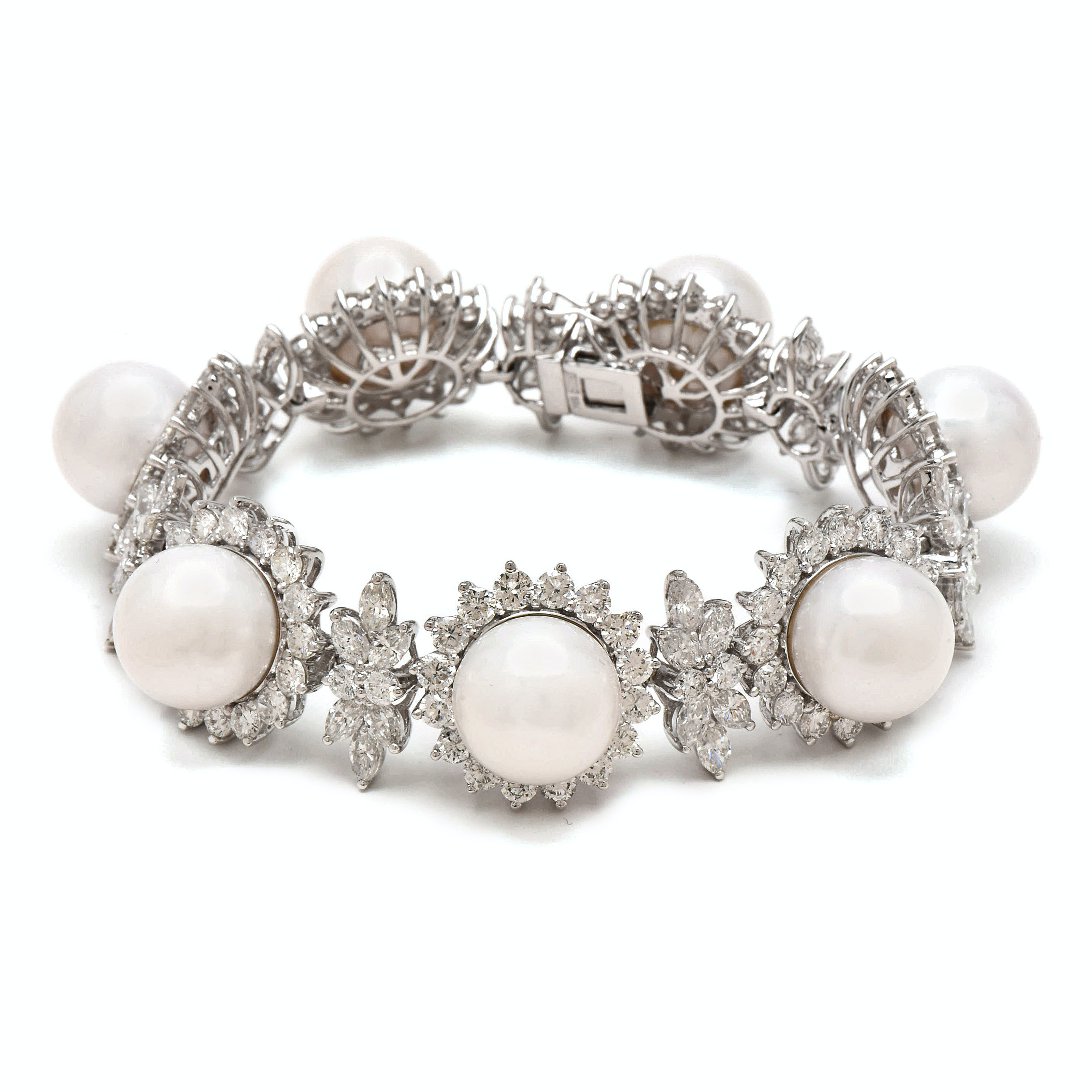 18K White Gold Cultured South Sea Pearl and 26.04 CTW Diamond Bracelet