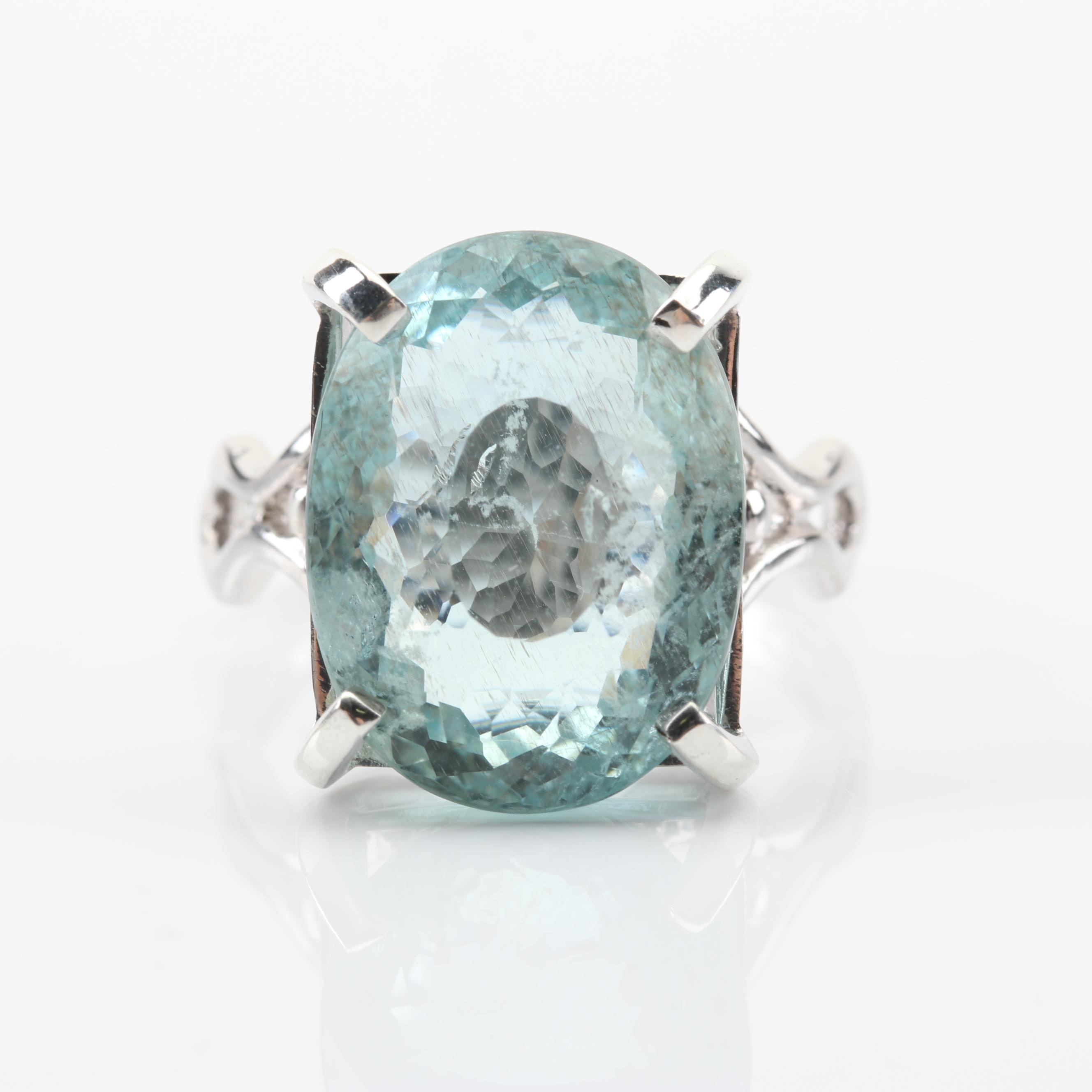 Sterling Silver 10.28 CT Aquamarine Ring