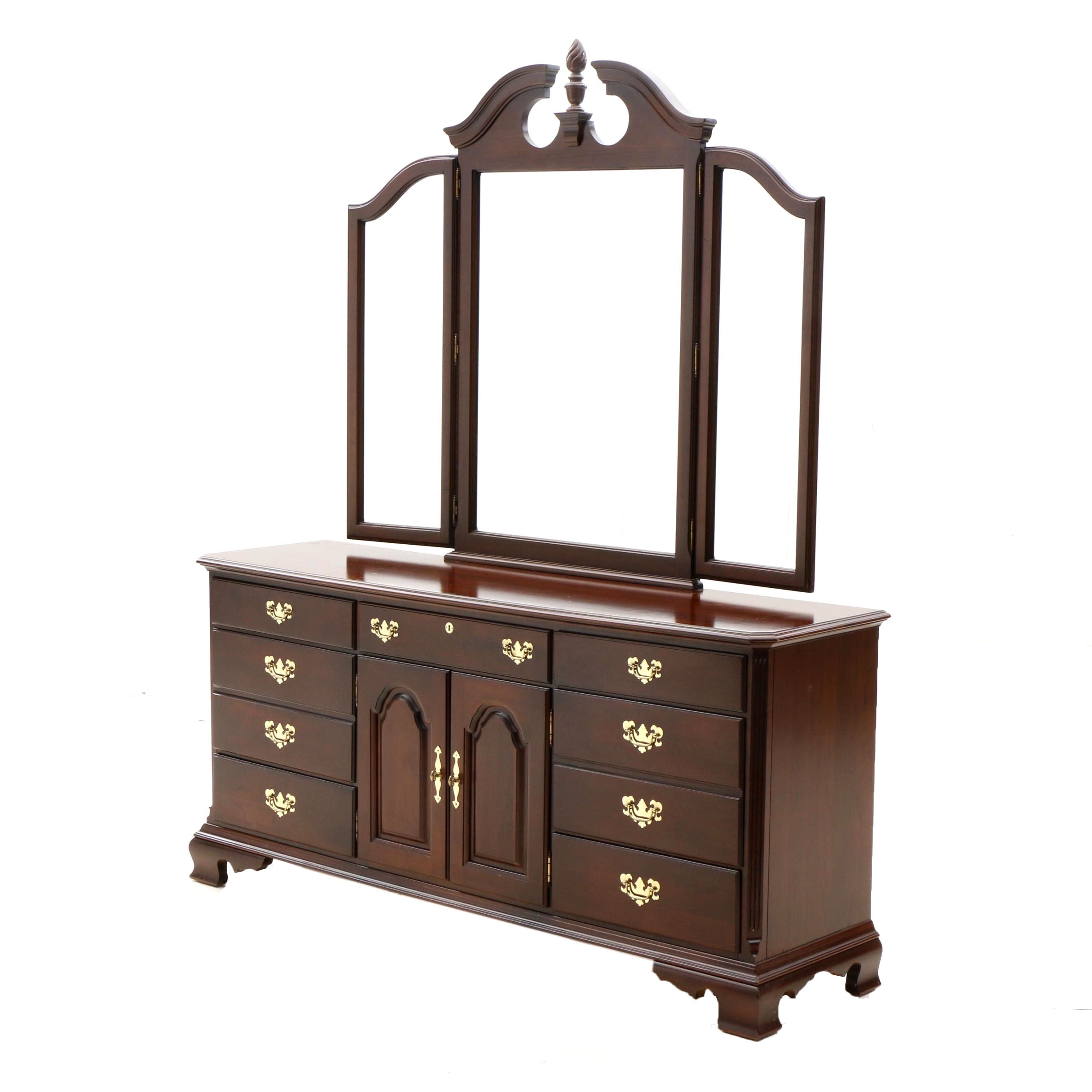 Federal Style Chest of Drawer with Mirror in Cherry by Kincaid