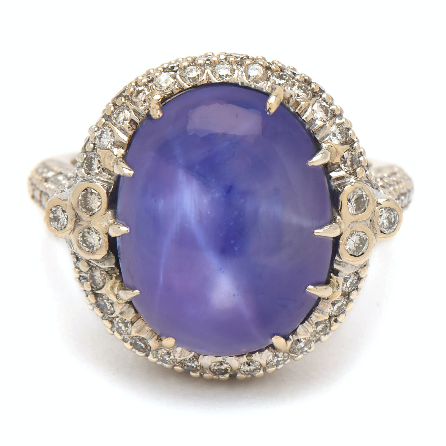 18K White Gold 16.58 CT Untreated Star Sapphire and 1.40 CTW Diamond Ring
