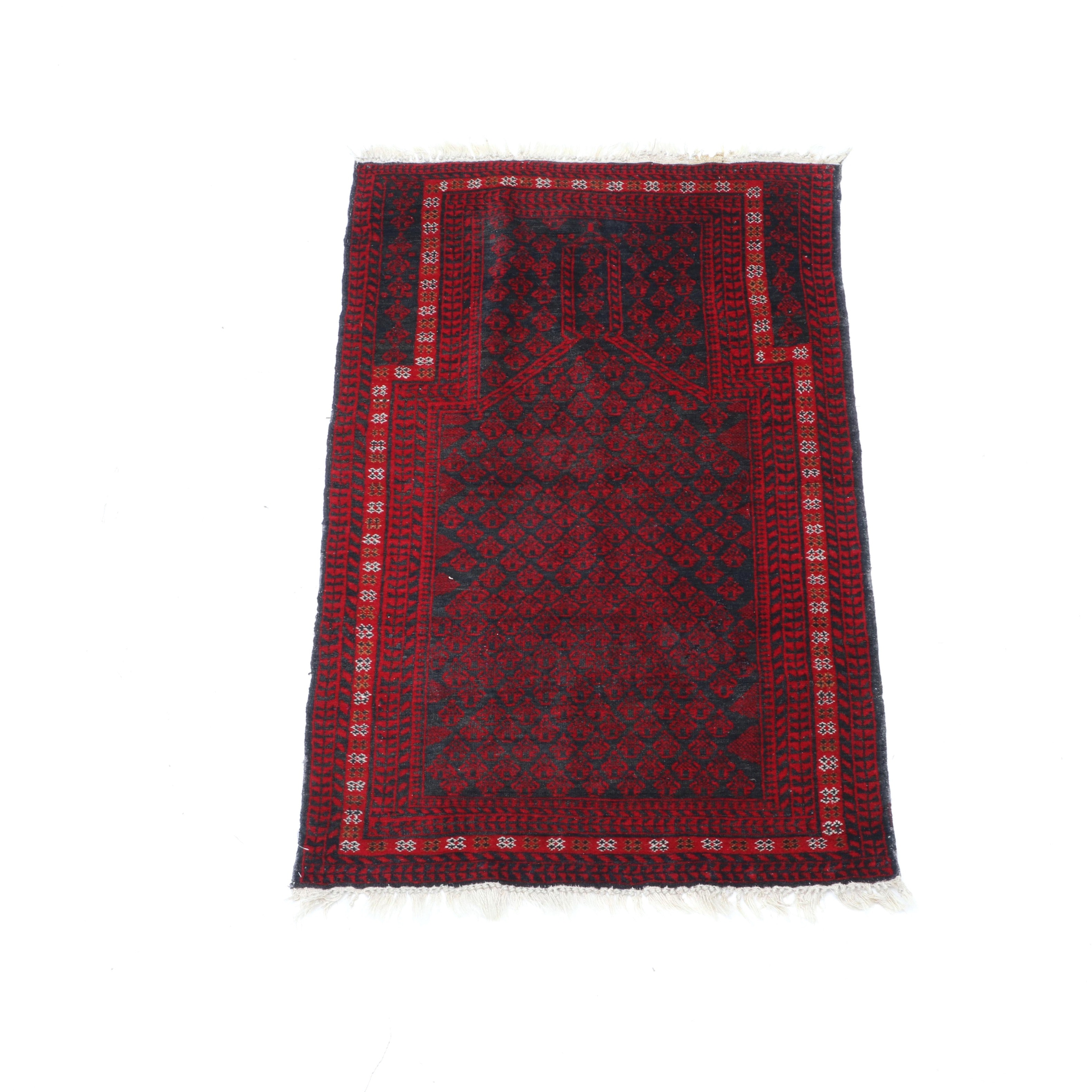 Hand-Knotted Afghan Baluch Prayer Rug