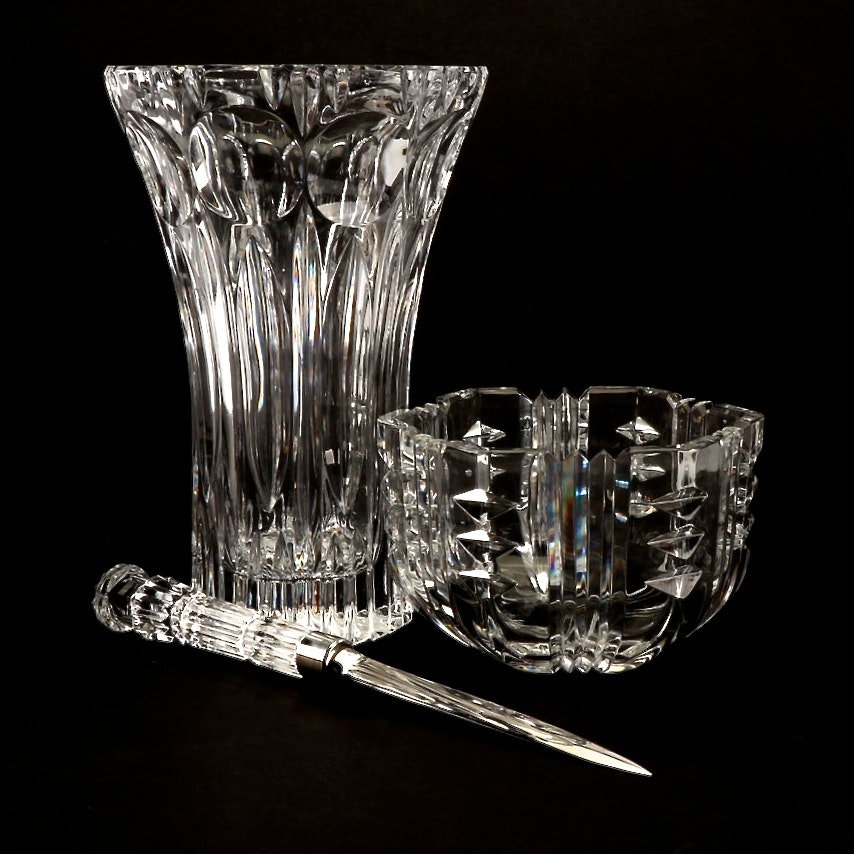 Rogaska Crystal Bowl, Waterford Letter Opener, and a Crystal Vase