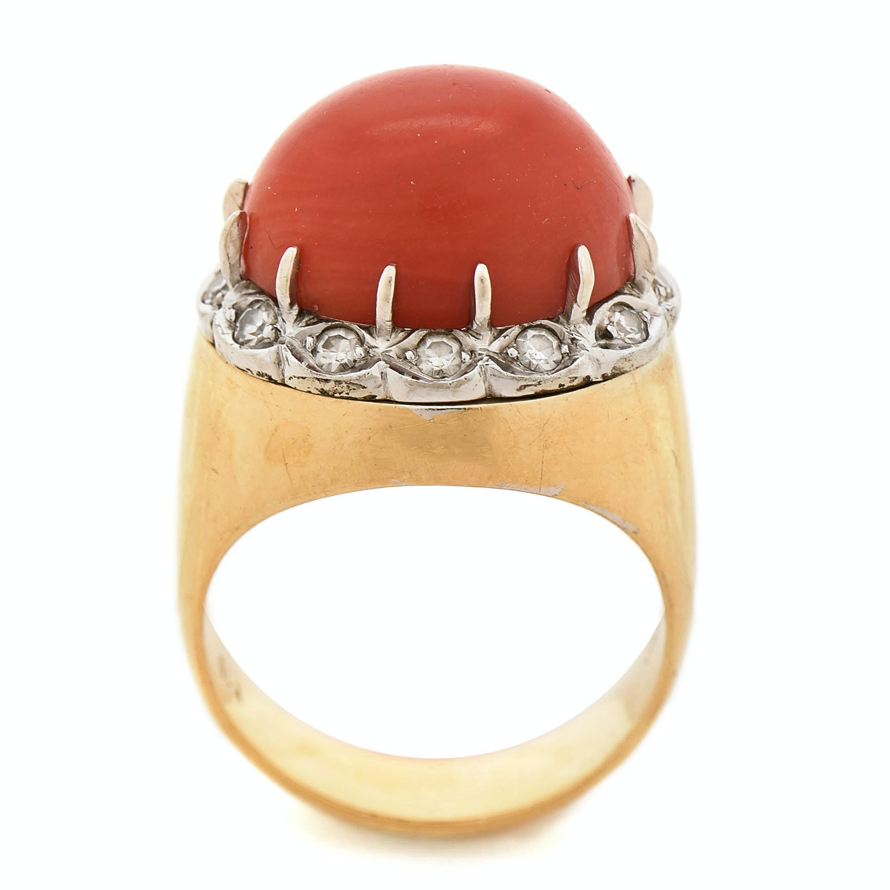 Italian 18K Yellow Gold Coral and Diamond Ring