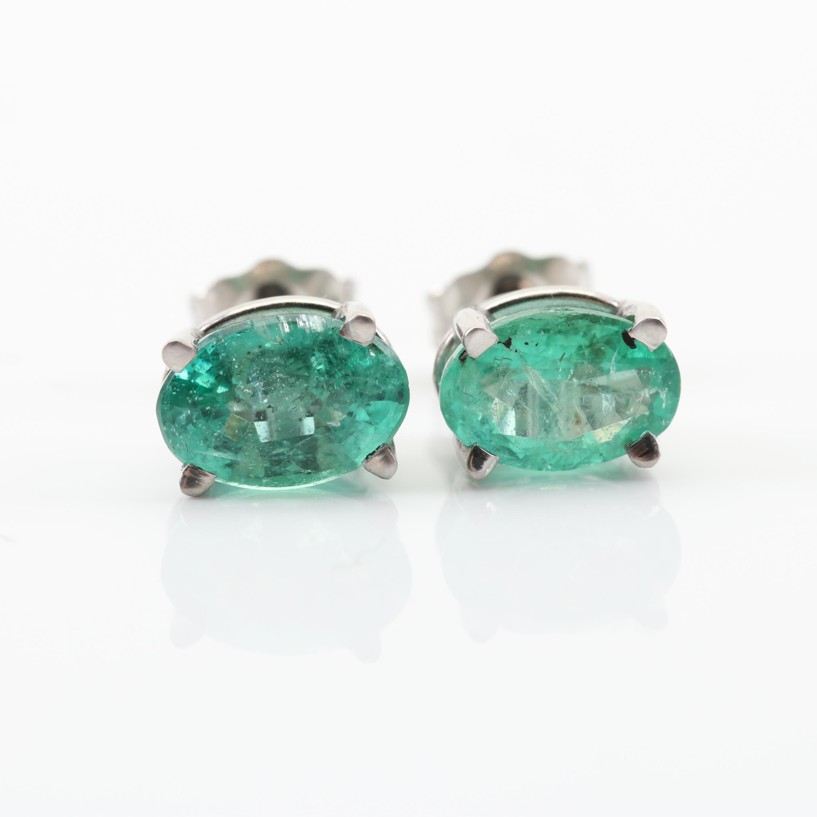 Platinum Emerald Stud Earrings