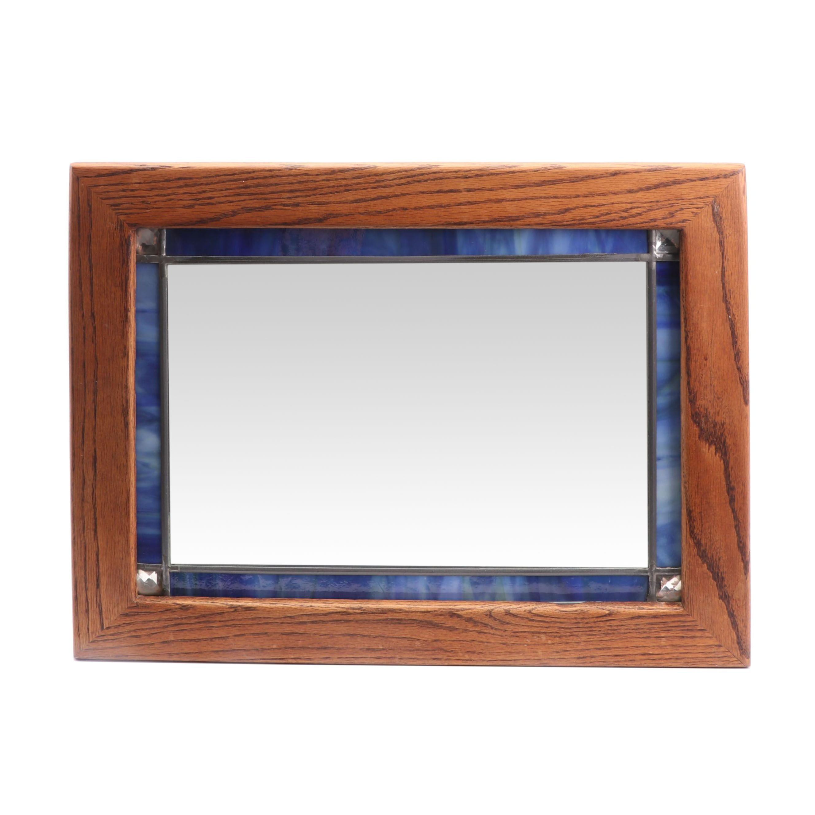 Oak and Blue Glass Frame Wall Mount Mirror, Late 20th Century
