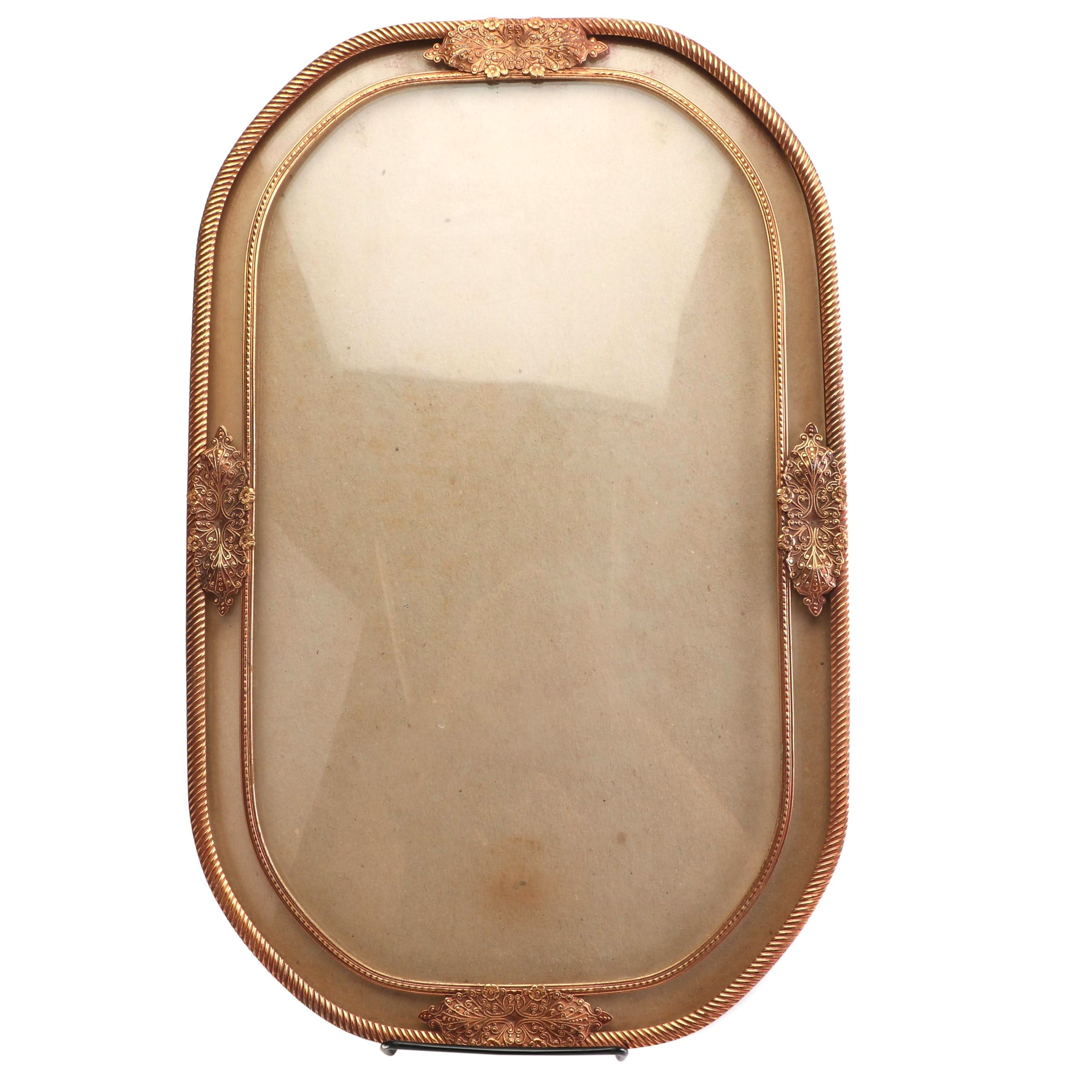 Victorian Style Convex Glass Frame with Filigree and Rope Trim