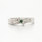 14K White Gold Diamond Ring with Green Diamond Center Stone