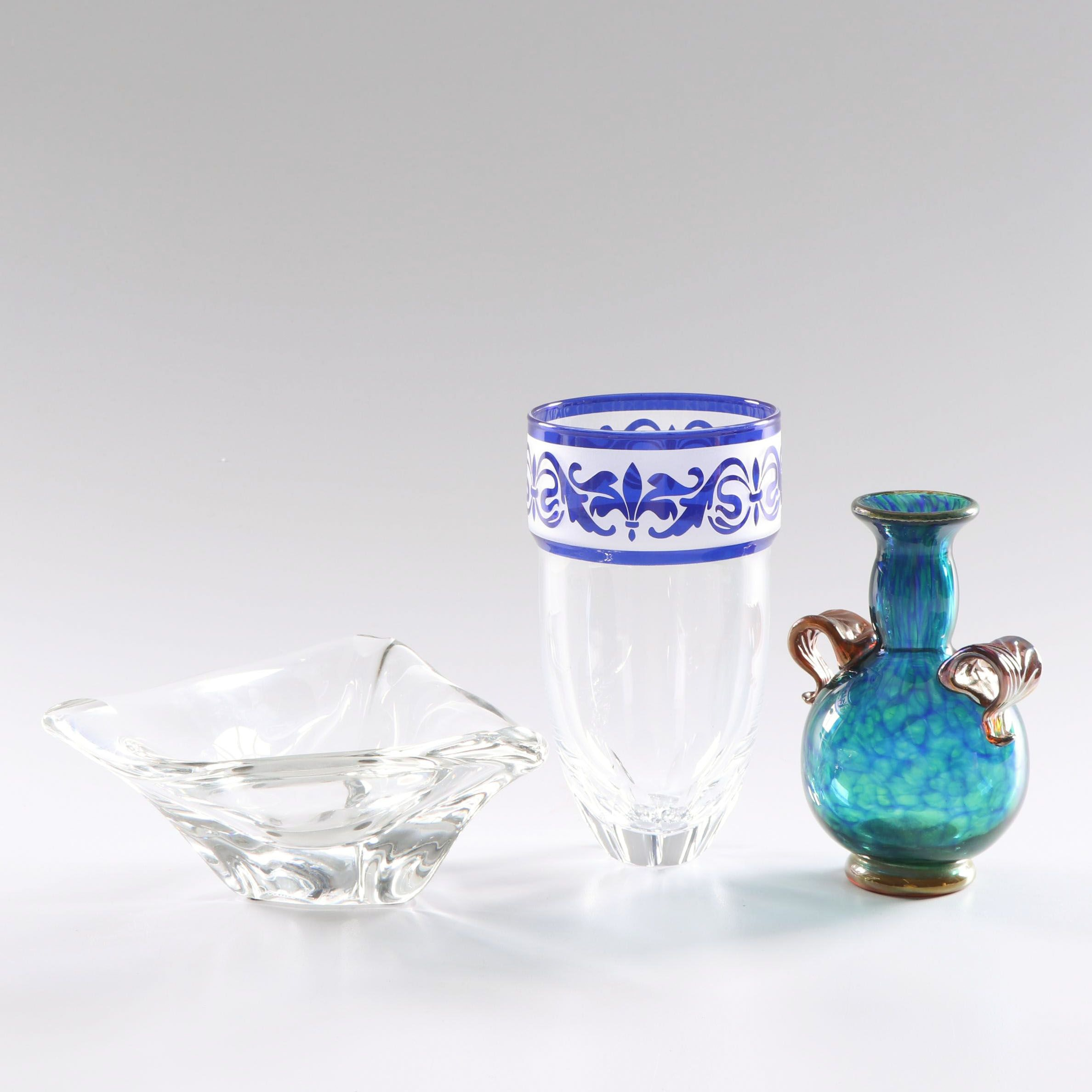 Kurt Strobach Vase, Daum Bowl, and Signed Art Glass Vase