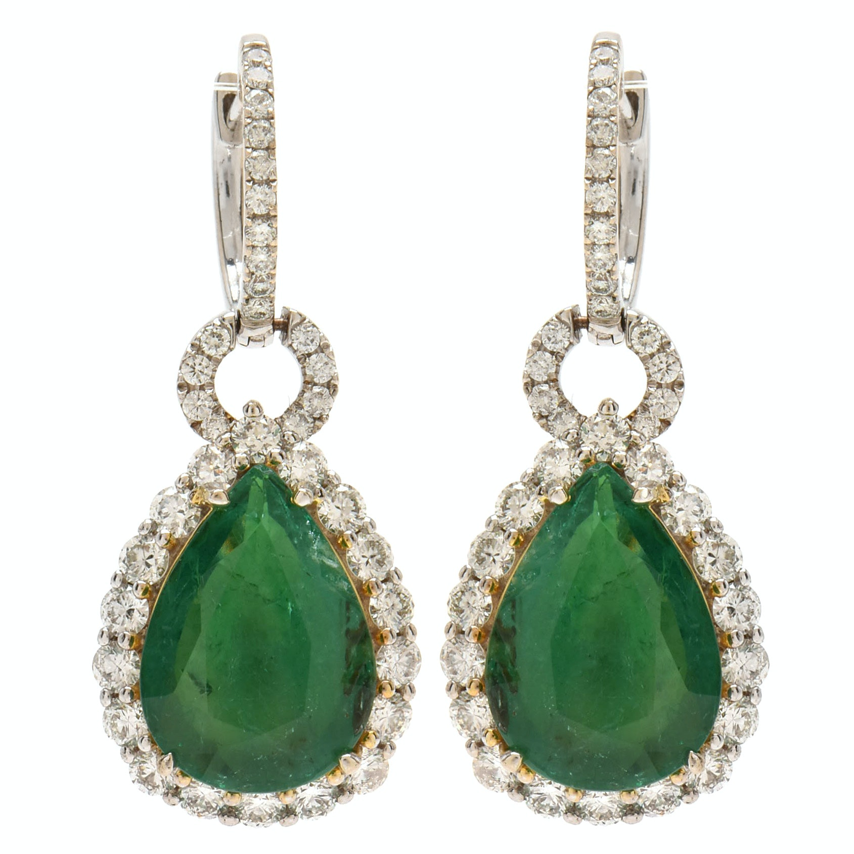 14K and 18K White Gold 9.63 CTW Emerald and 2.56 CTW Diamond Drop Earrings