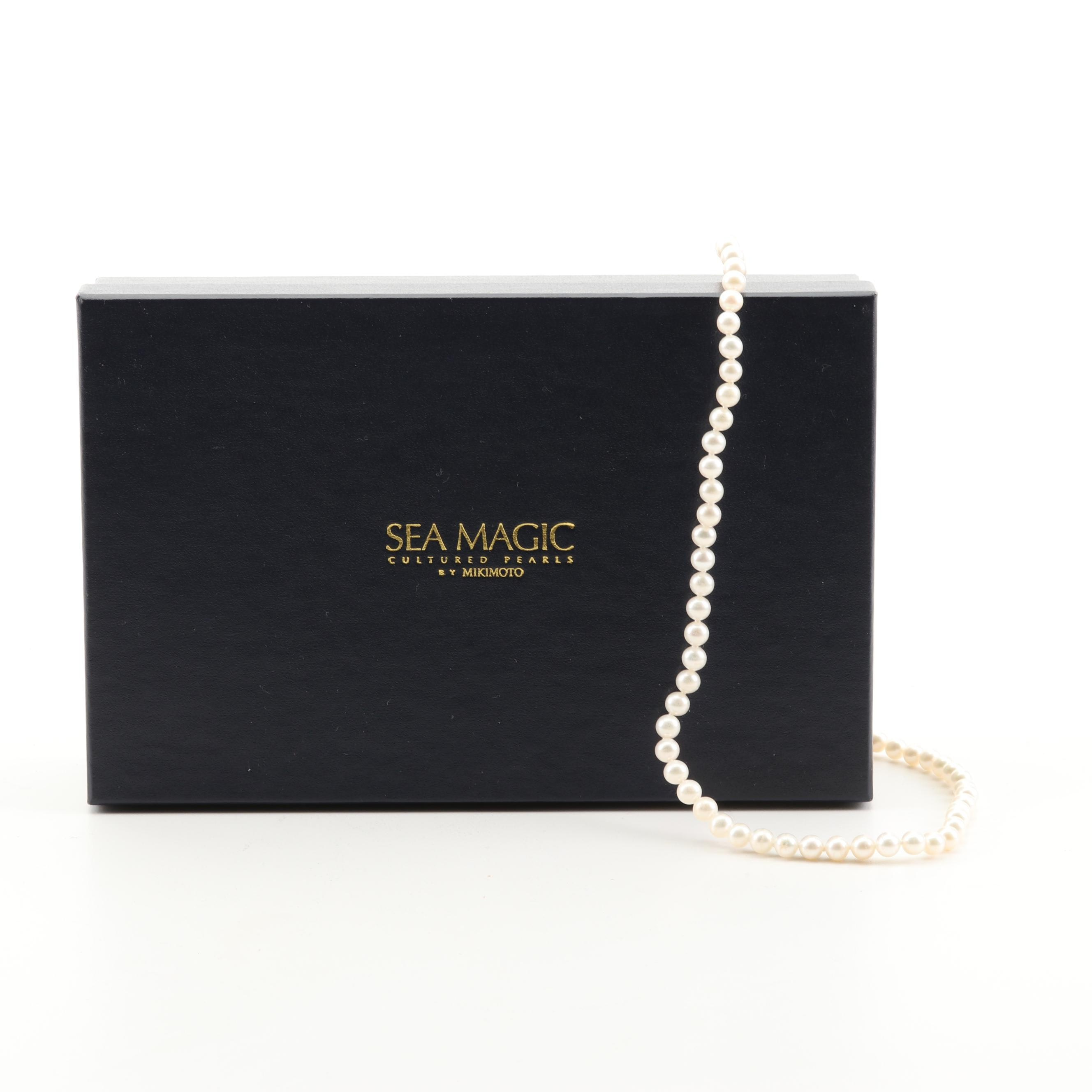 Blue Lagoon by Mikimoto Sterling Silver Hand Knotted Cultured Pearl Strand
