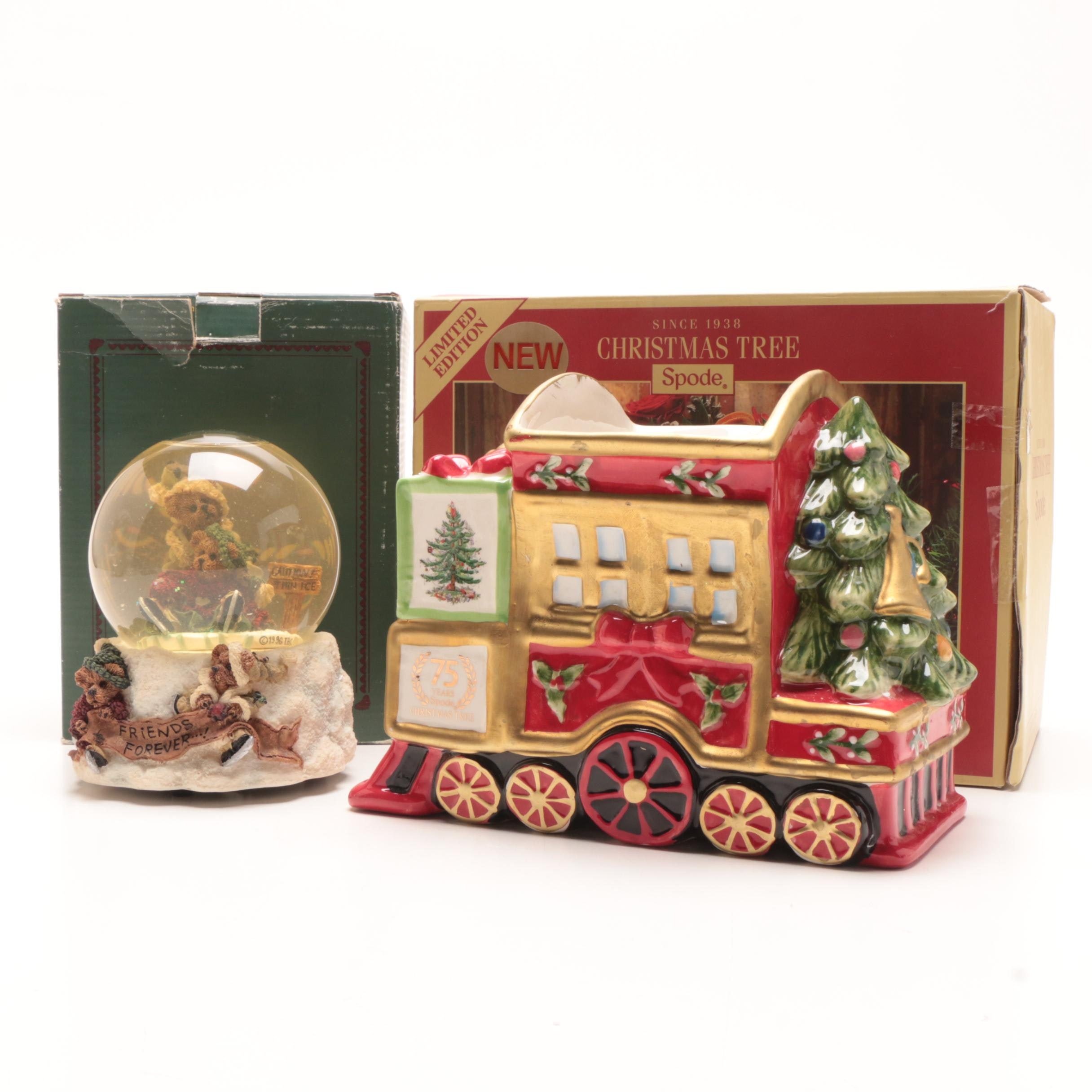 Spode Christmas Planter and a Boyd's Bear Musical Snow Globe with the Boxes