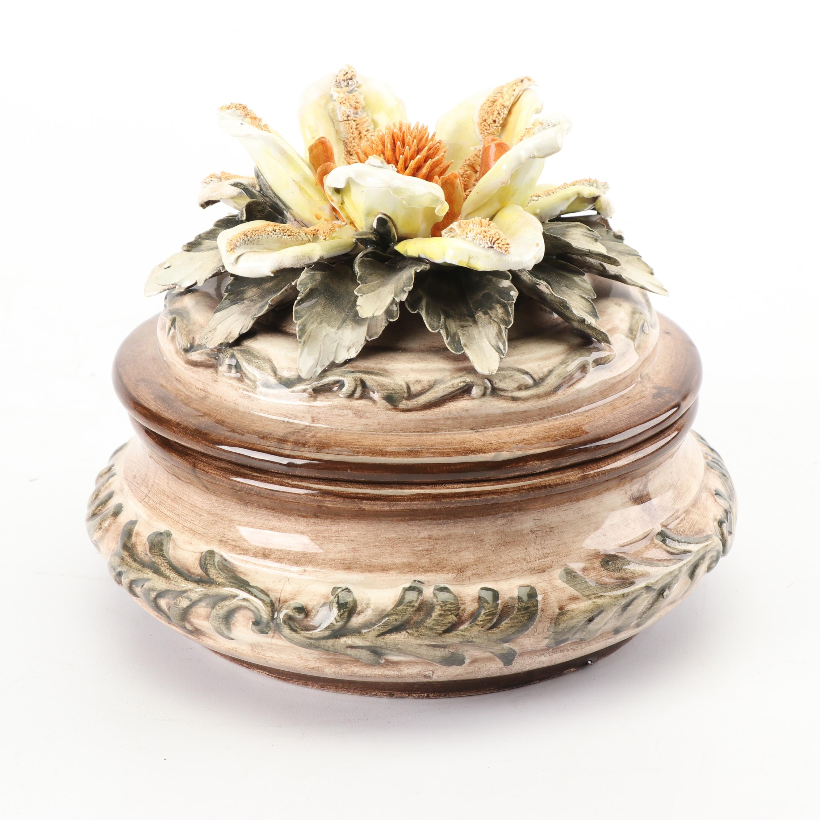 Italian Hand-Painted Capodimonte Style Ceramic Trinket Box