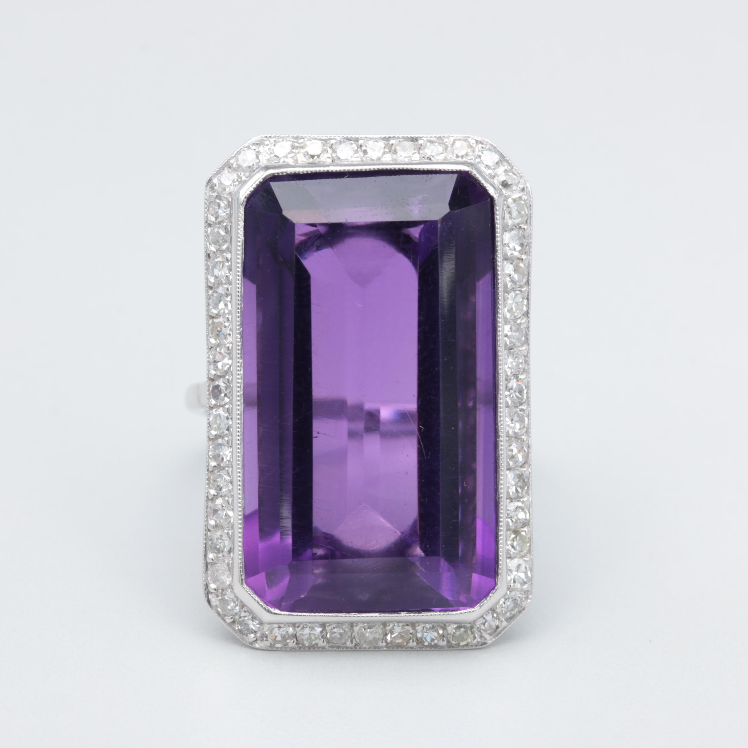 Platinum 9.17 CT Amethyst and Diamond Ring