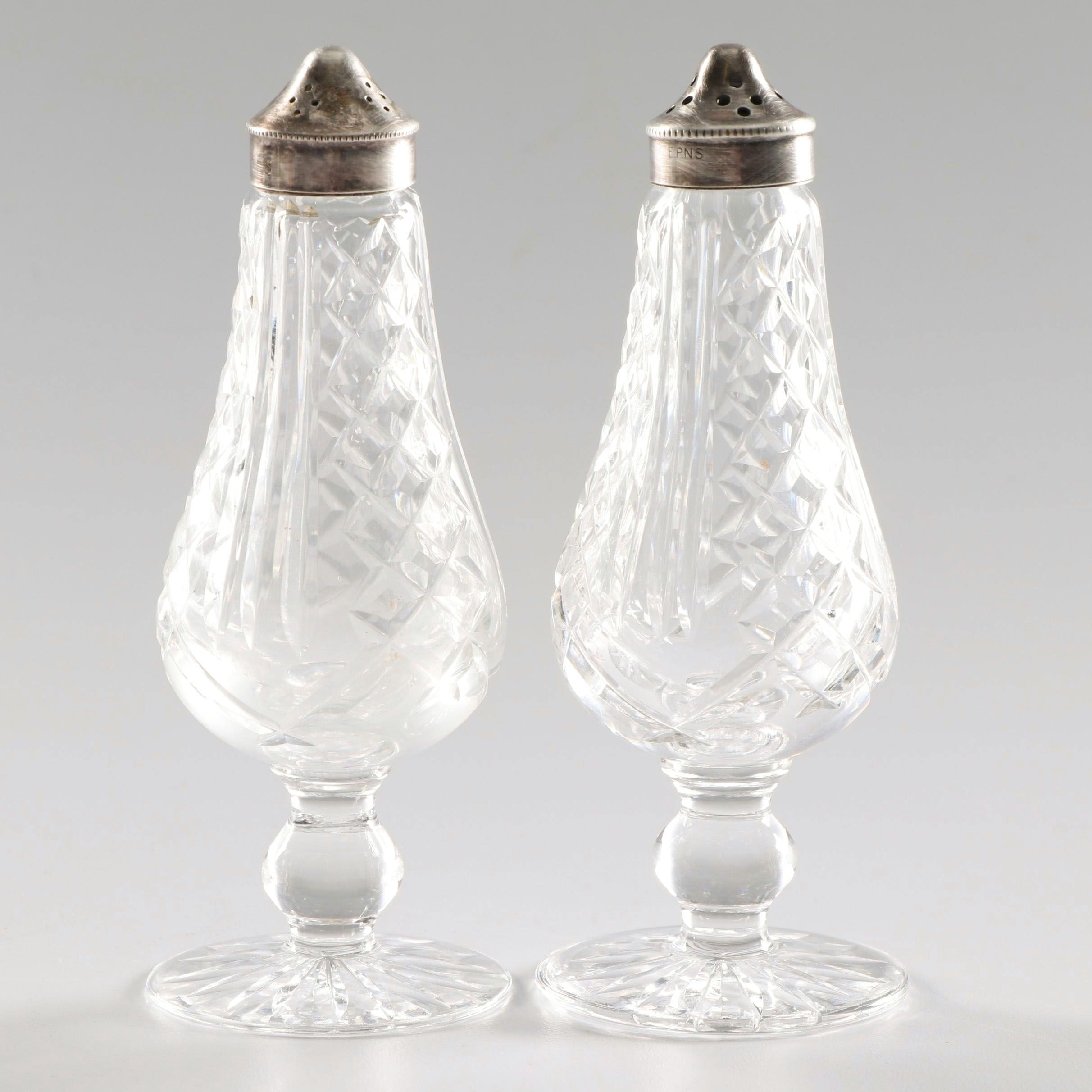 Waterford Crystal Salt and Pepper Shakers with Silver Plate Lids
