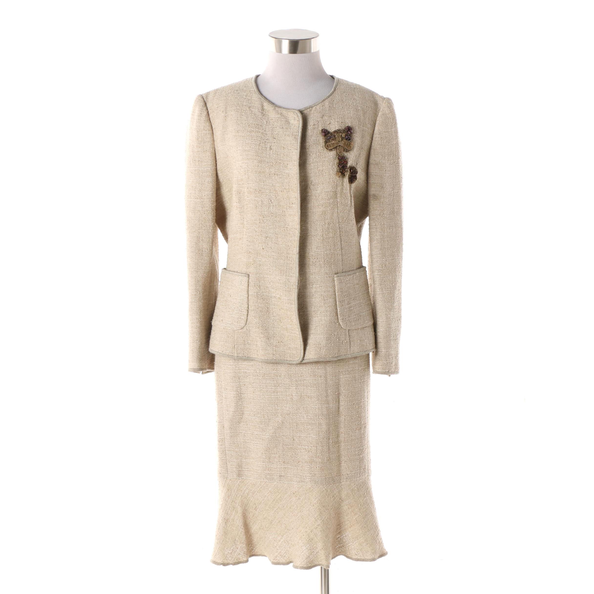Moschino Linen Blend Skirt Suit with Cat Appliqué