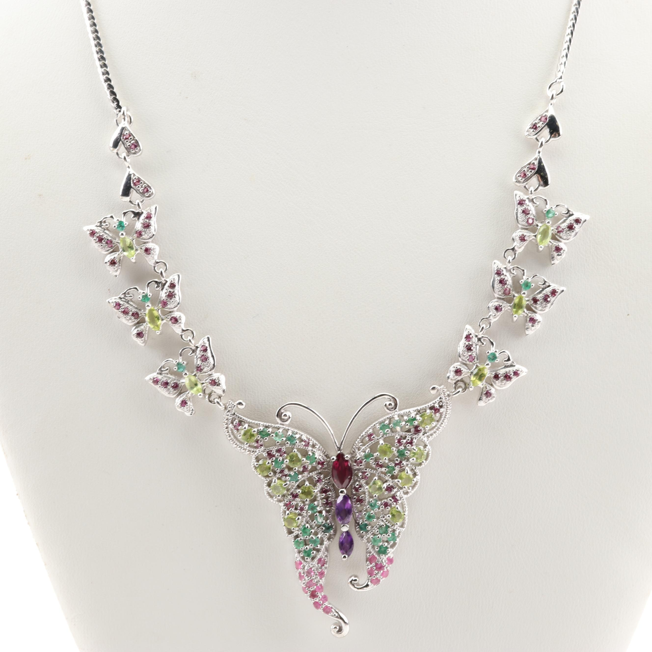 Sterling Silver Butterfly Necklace with Emerald, Garnet and Ruby