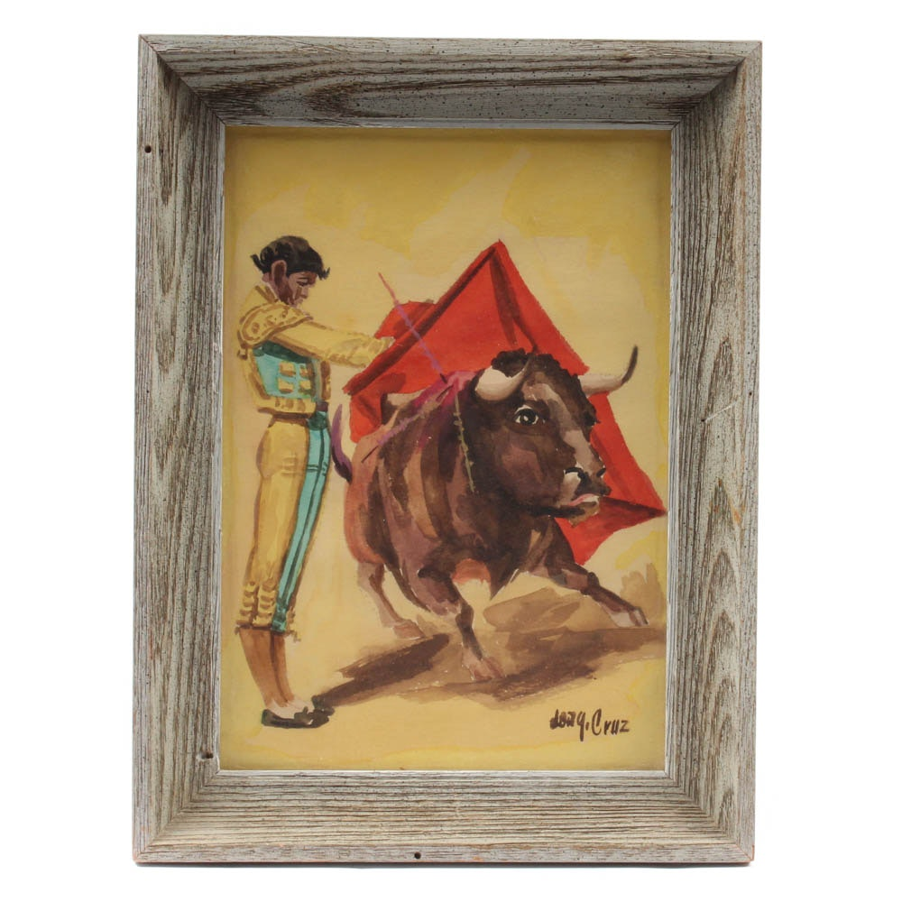 Don J. Cruz Oil Painting Of Matador and Bull