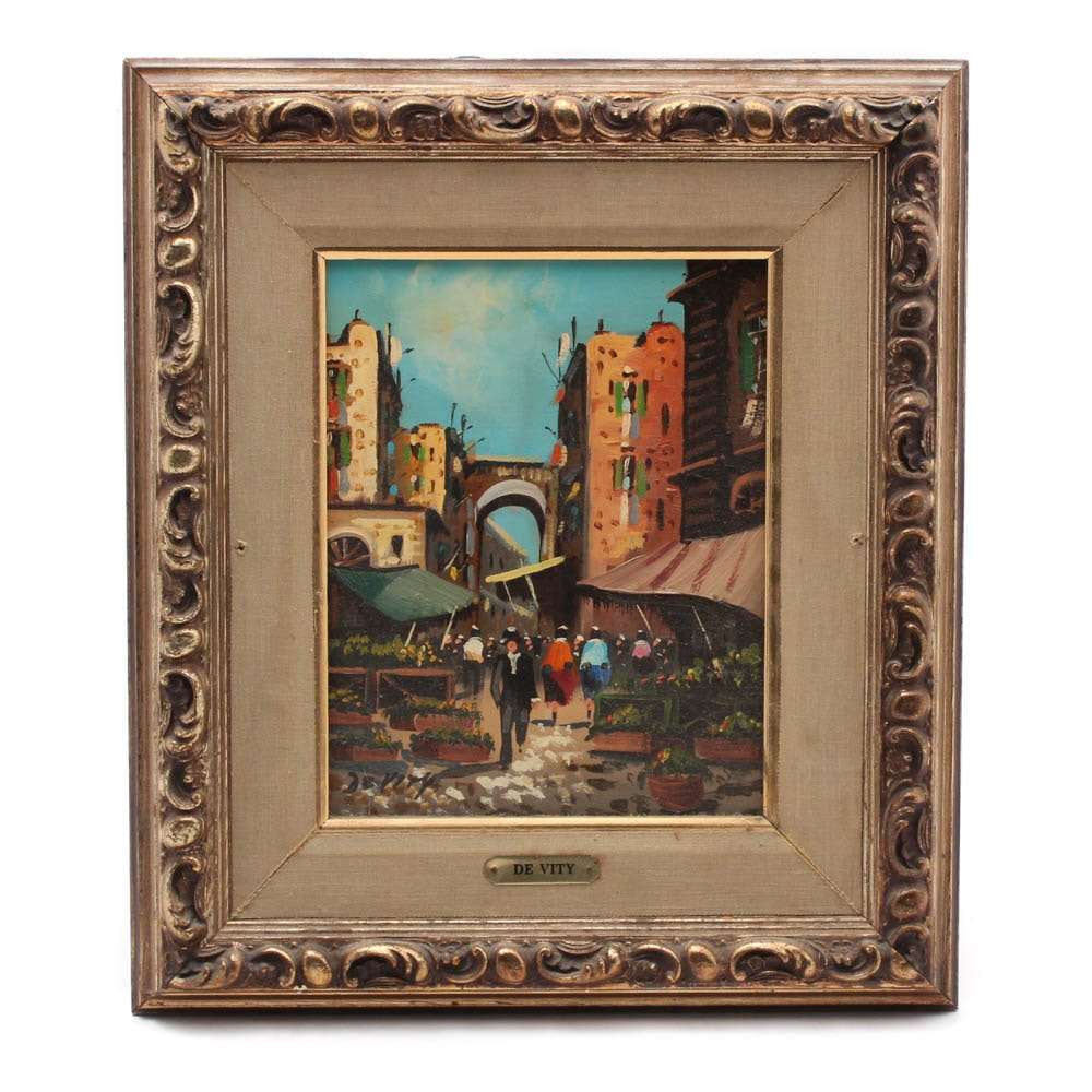Antonio De Vity Oil Painting of Market Scene