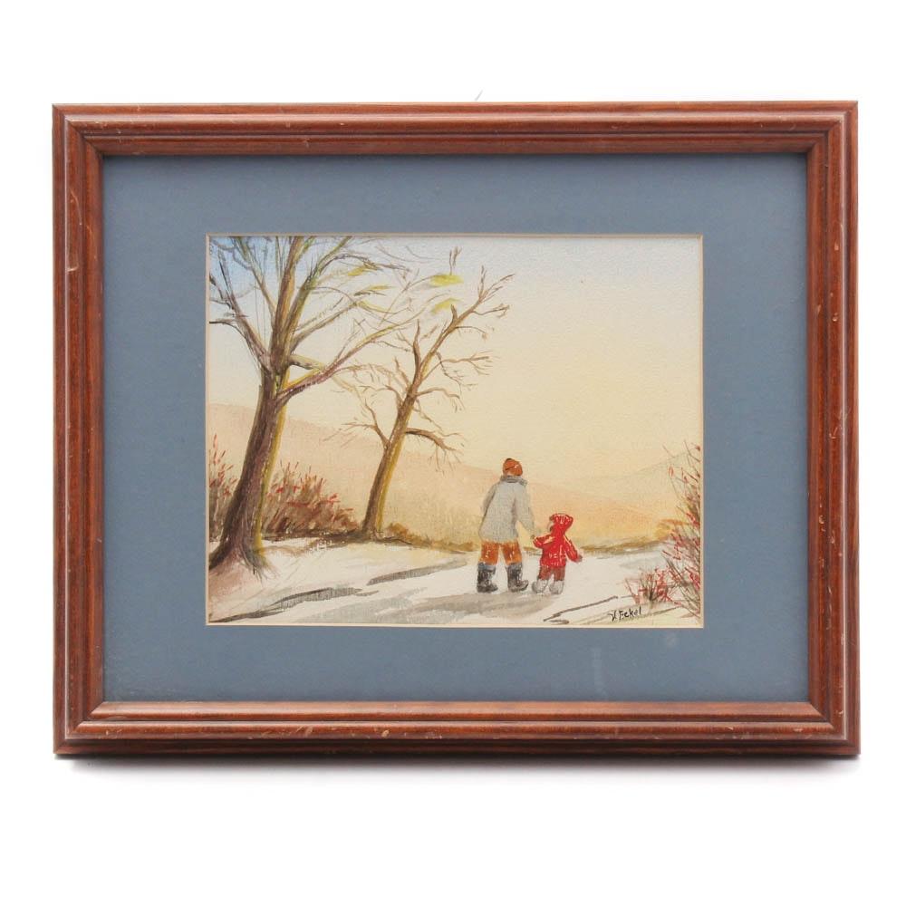 V. Eckel Watercolor Painting of Winter Scene