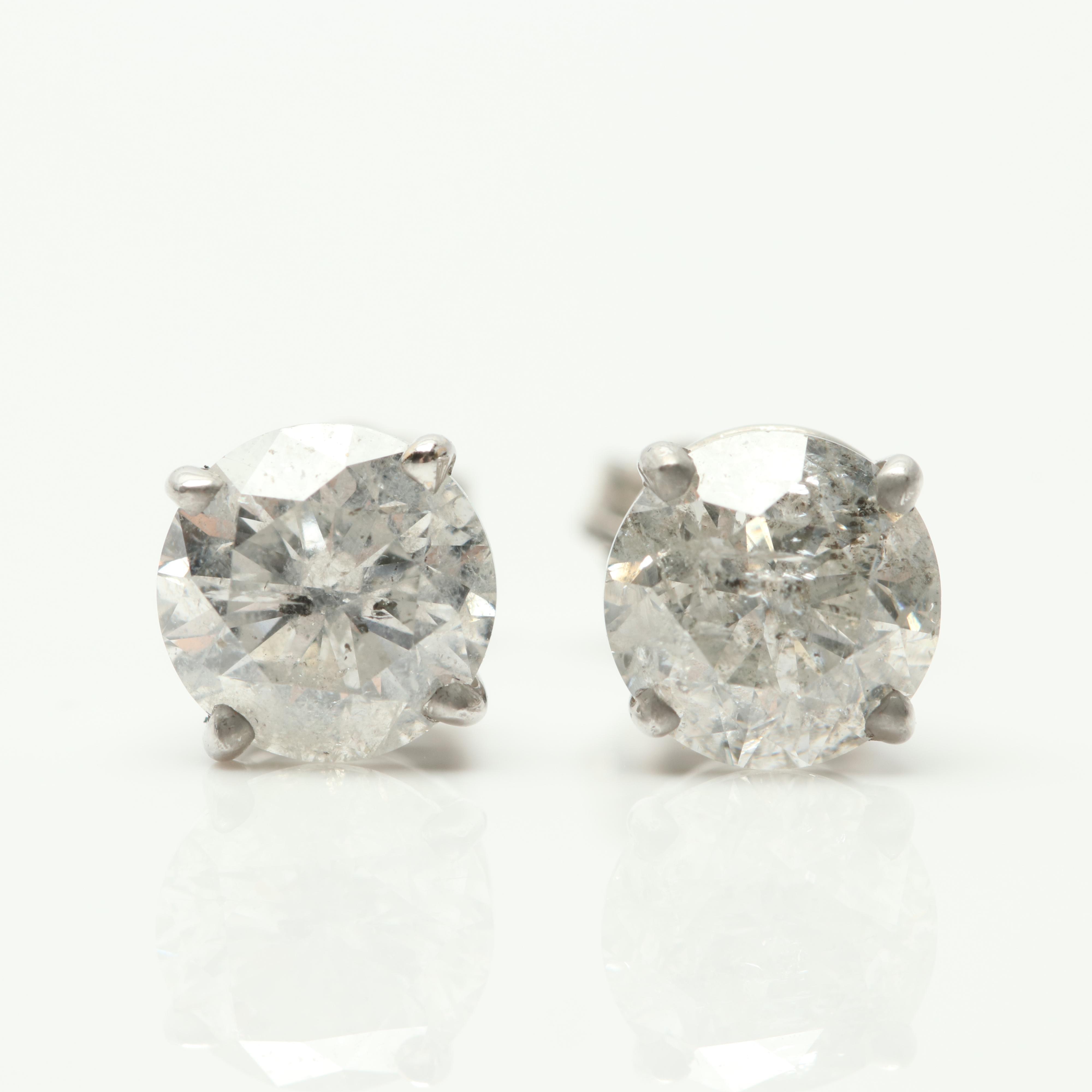 14K White Gold 1.66 CTW Diamond Stud Earrings