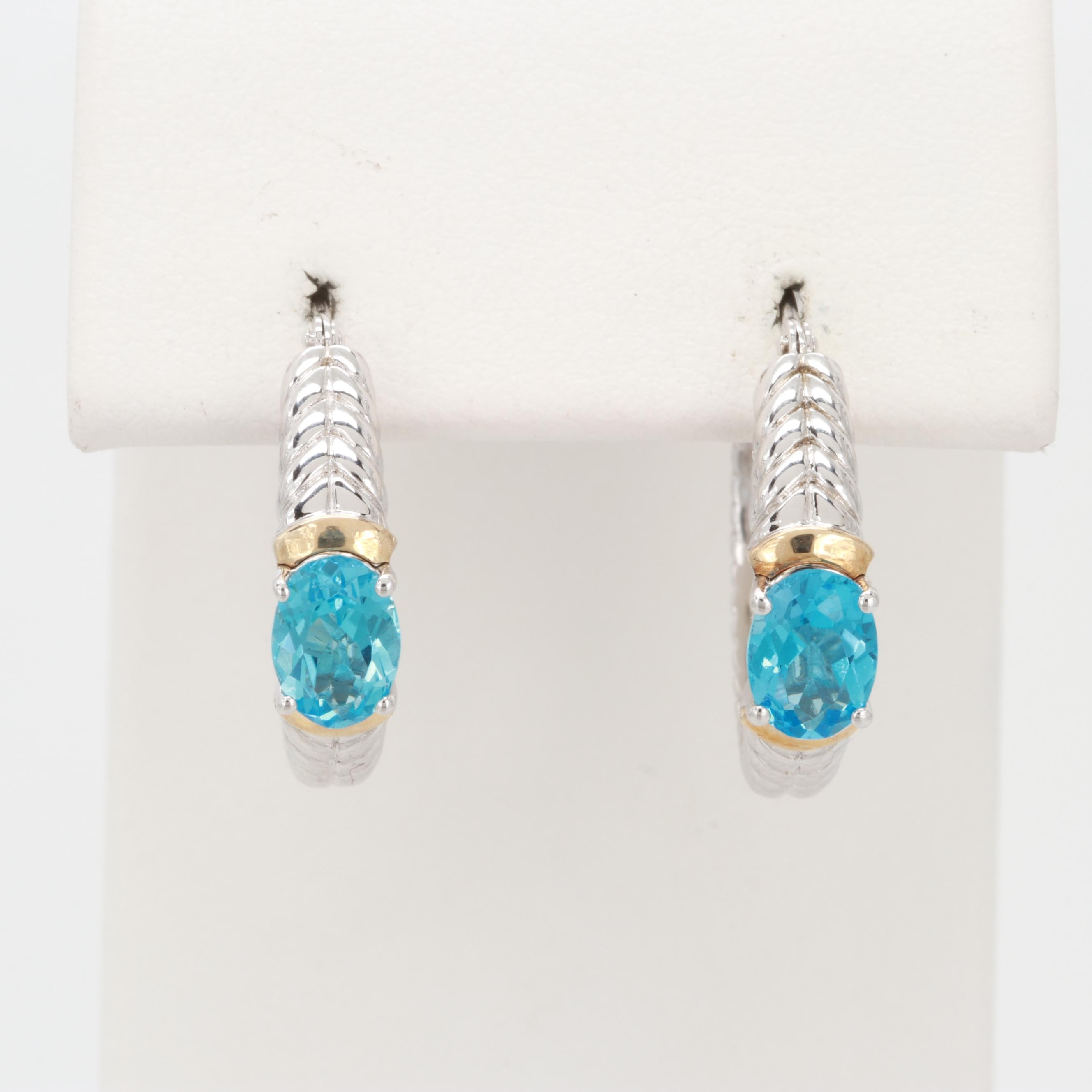 Sterling Silver Blue Topaz Hoop Earrings with 14K Yellow Gold Accents
