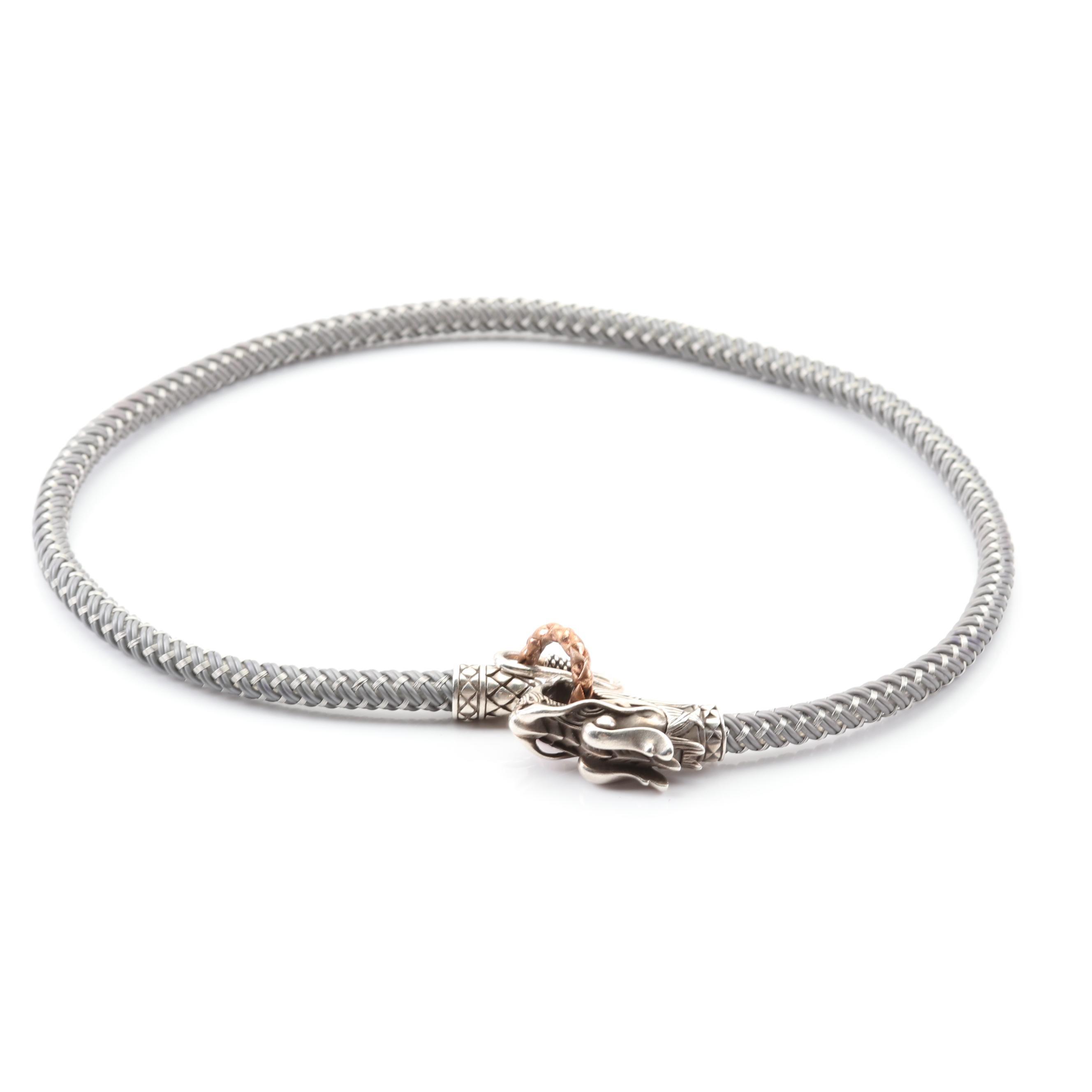 John Hardy Sterling Silver Dragon Head Necklace