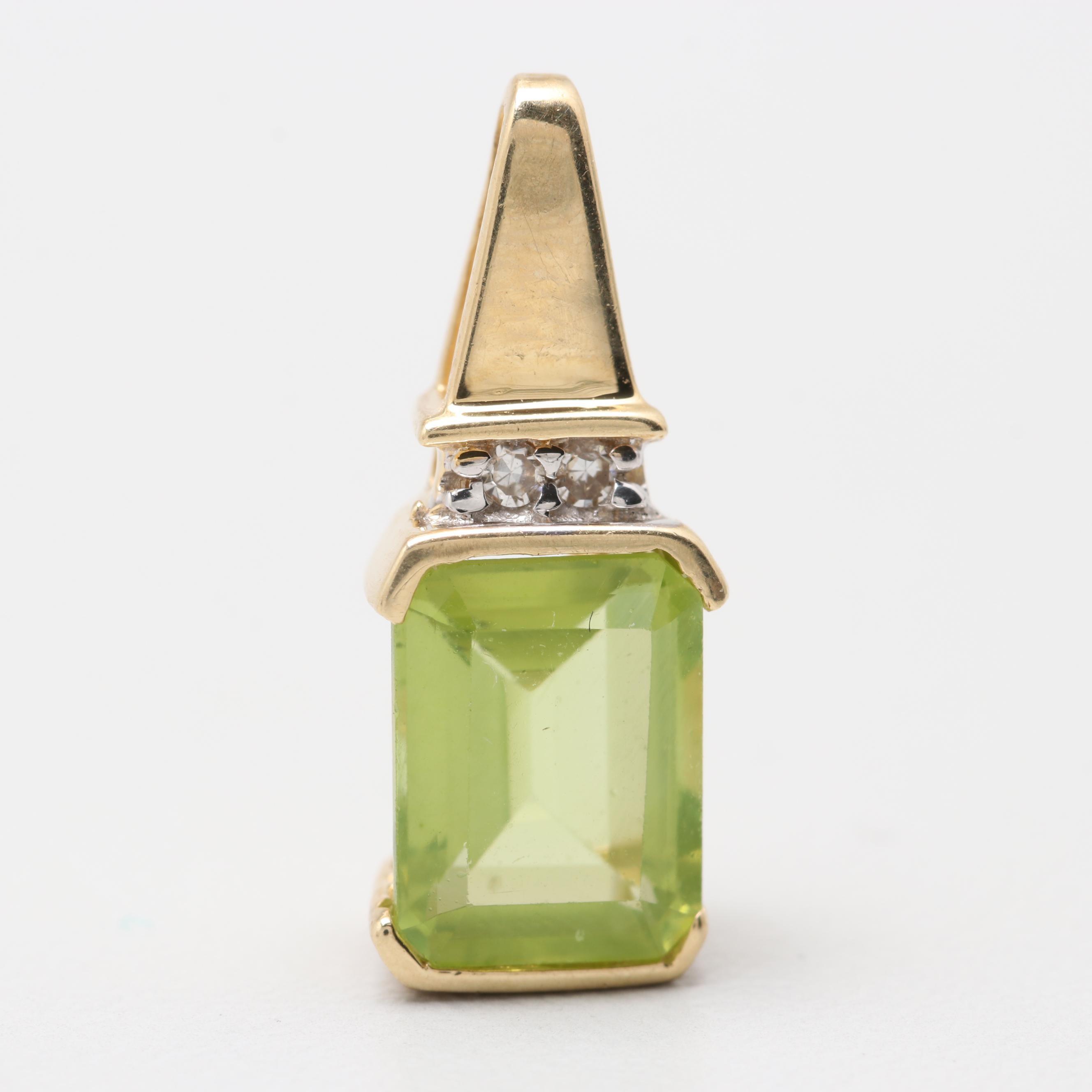 14K Yellow Gold Peridot and Diamond Pendant