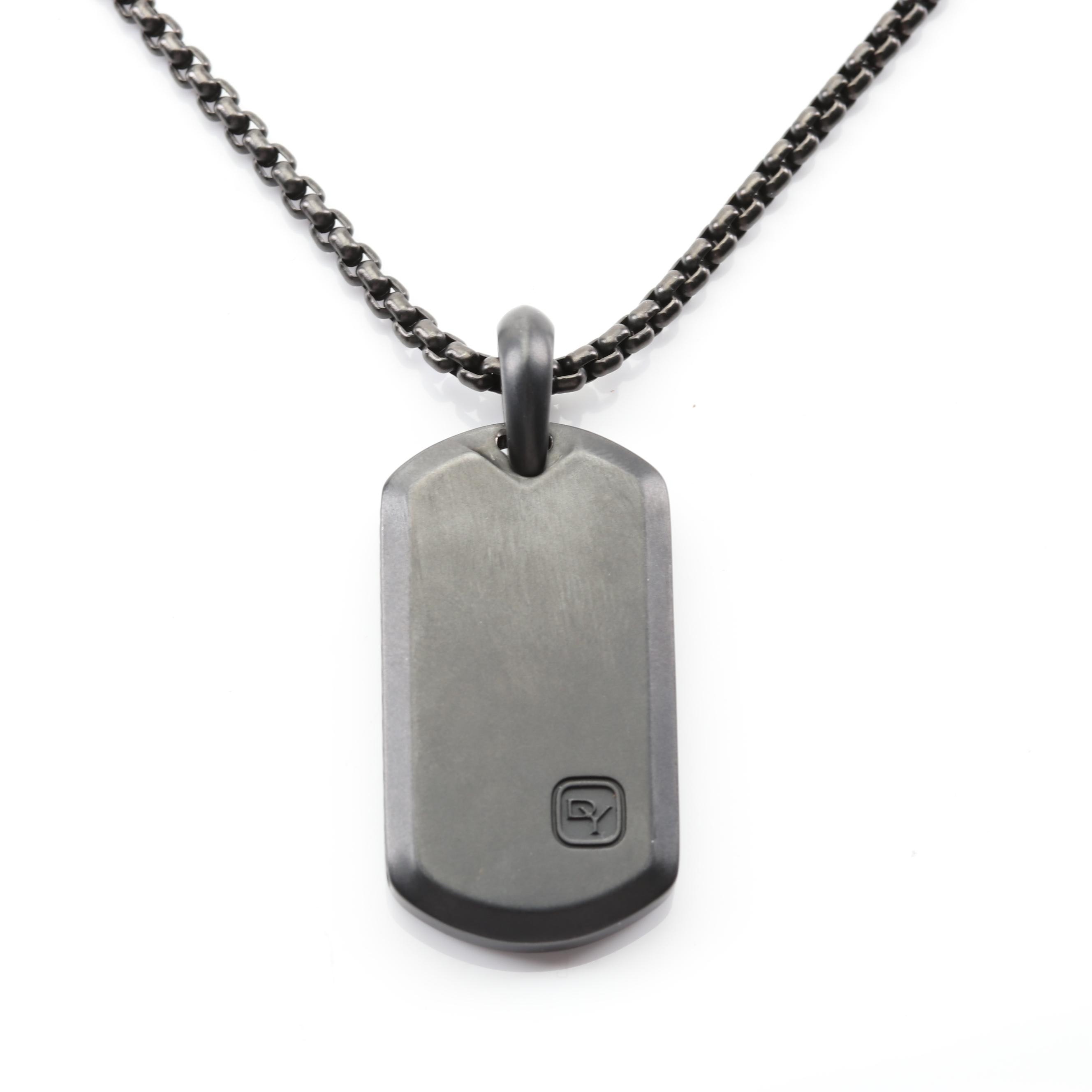 David Yurman Stainless Steel Dog Tag Pendant