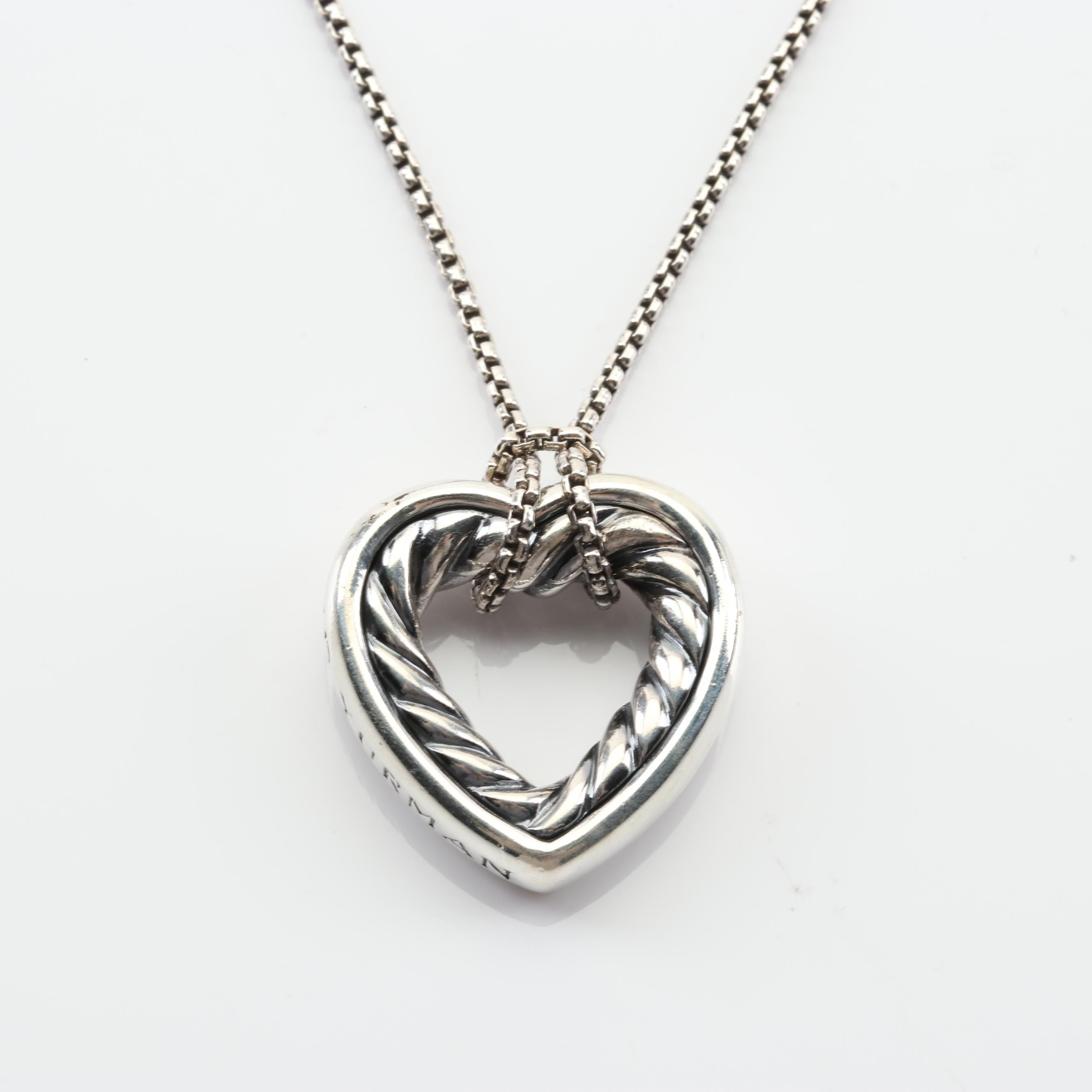 David Yurman Sterling Silver Cable Heart Necklace with 18K Yellow Gold Accents