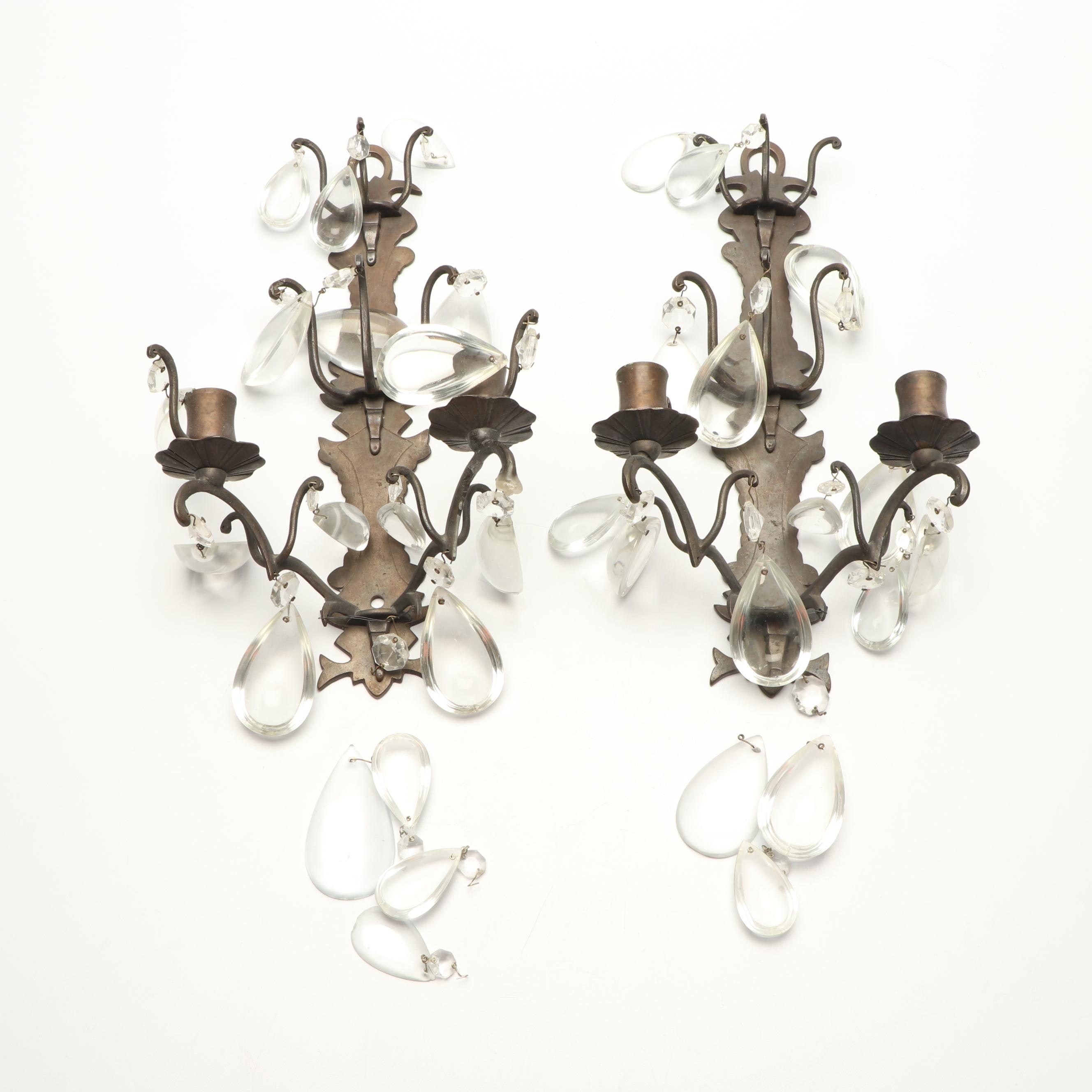 Candle Sconces with Glass Prisms