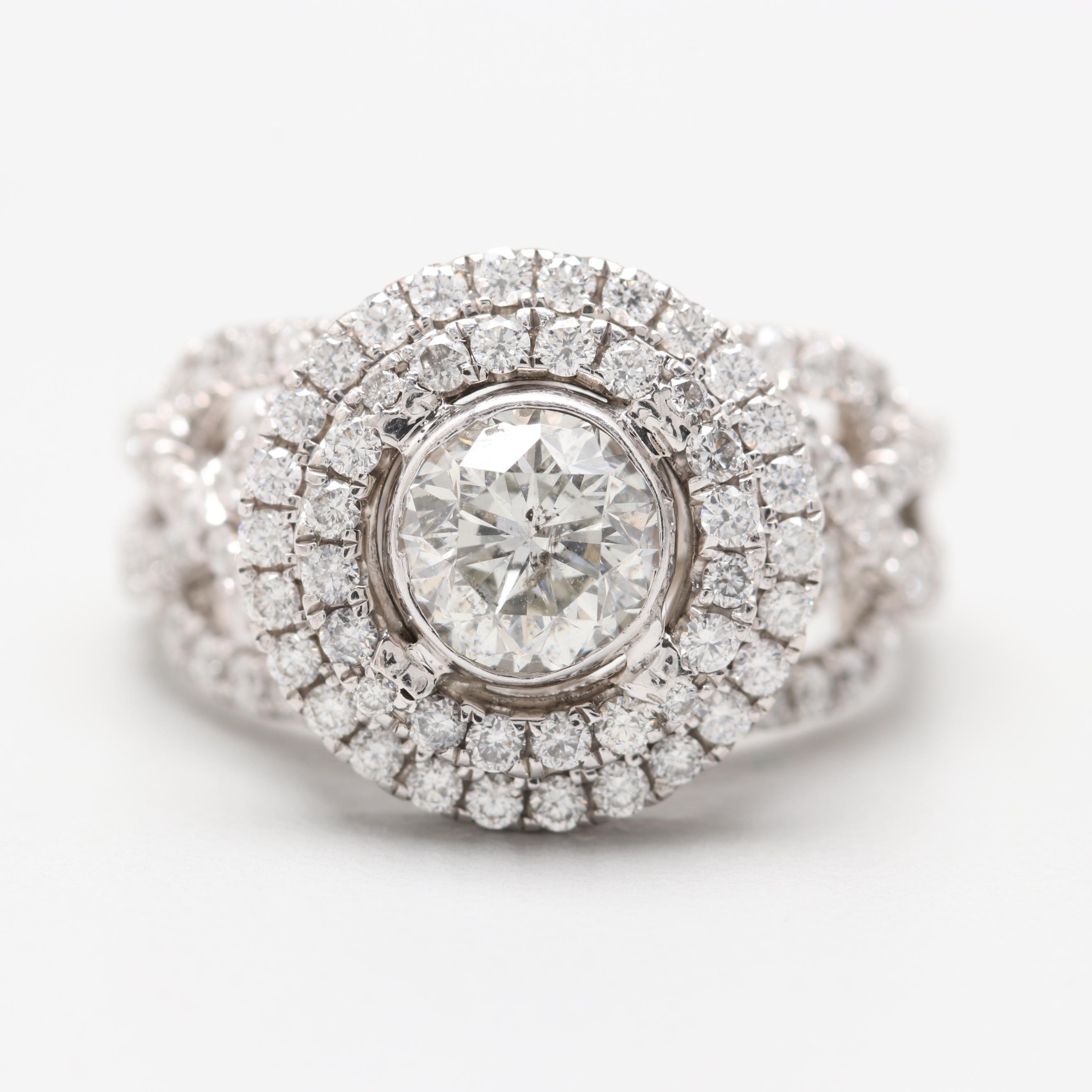 18K White Gold 2.18 CTW Diamond Ring